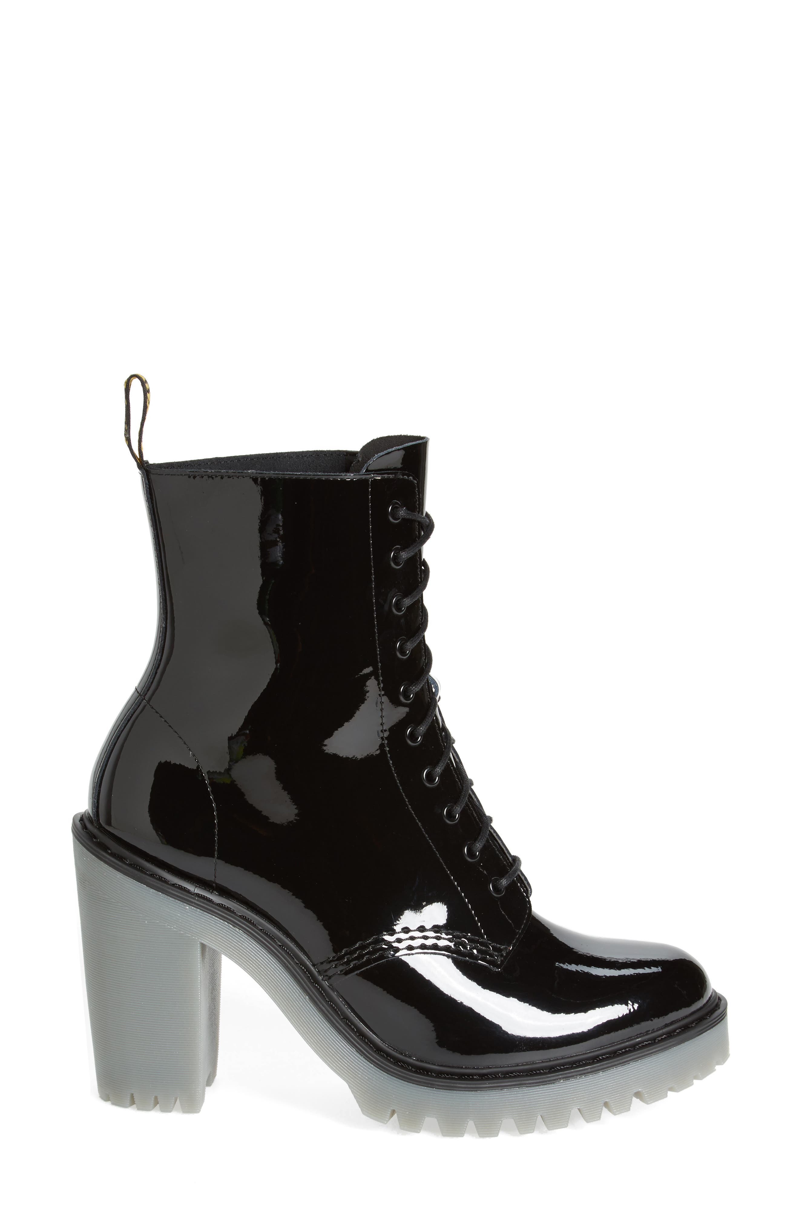 Kendra Heeled Bootie,                             Alternate thumbnail 3, color,                             Black Patent Leather