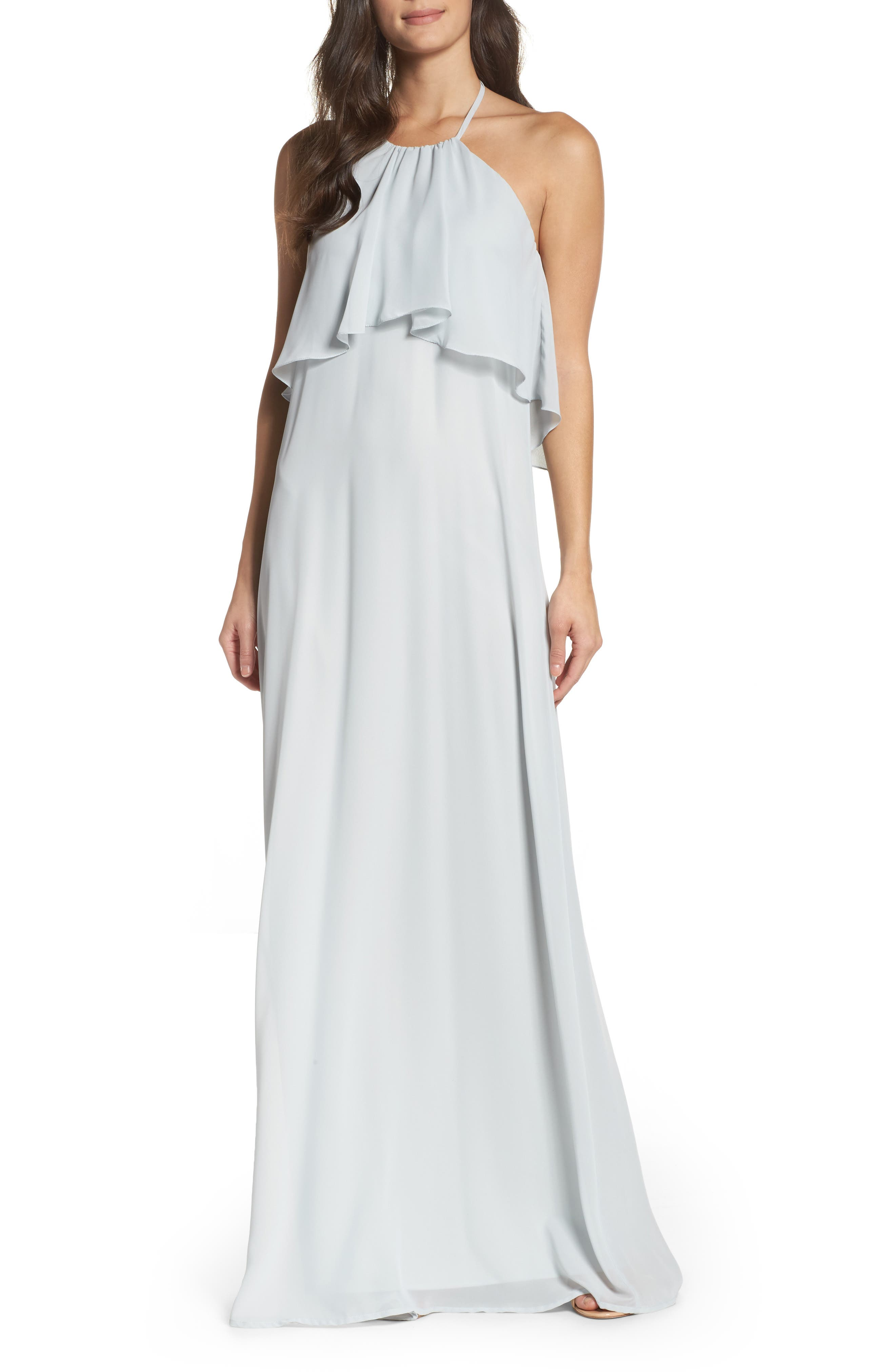 Alternate Image 1 Selected - nouvelle AMSALE 'Cait' Chiffon Halter Gown