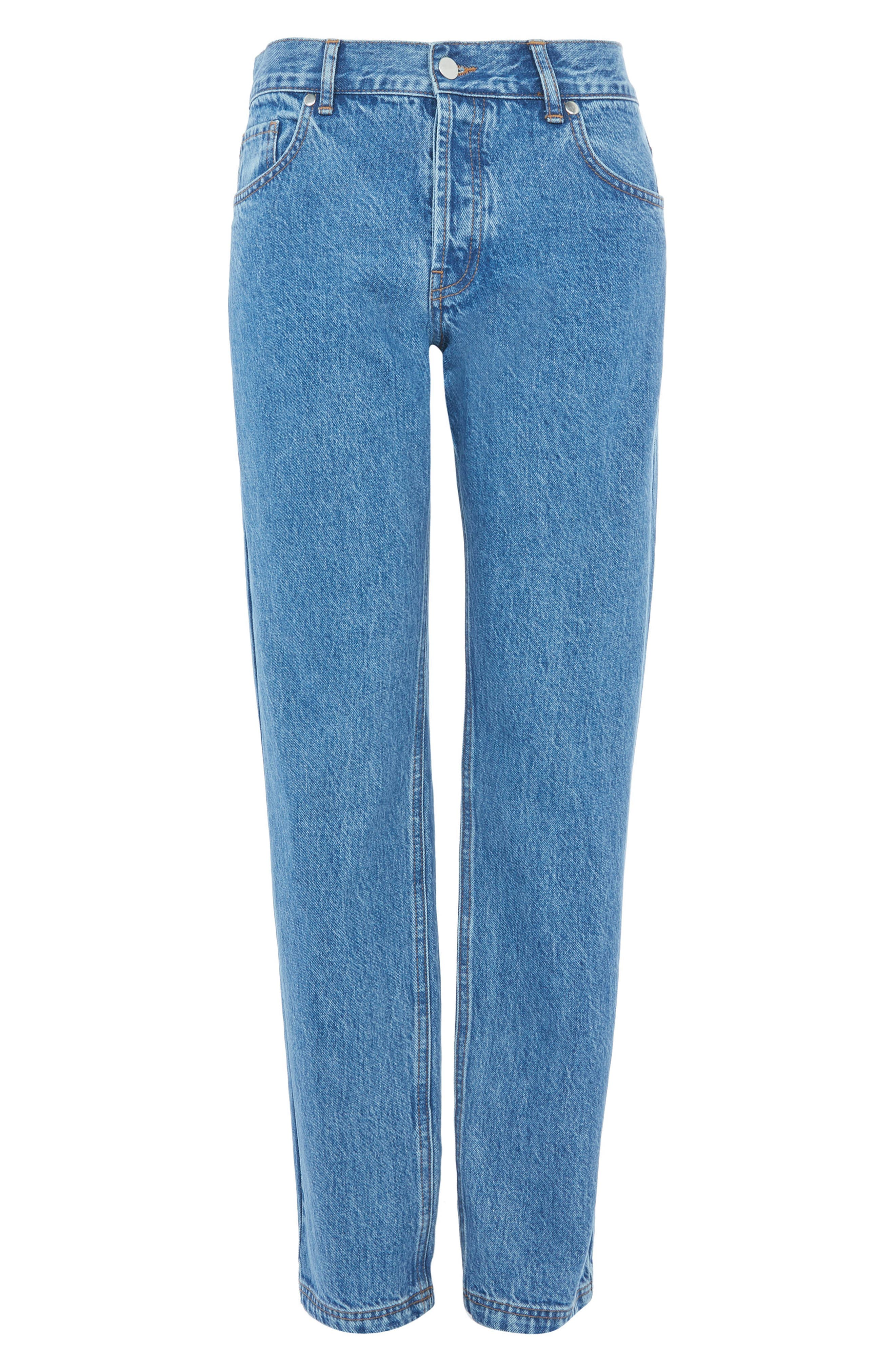 Topshop Medium Wash Straight Leg Jeans