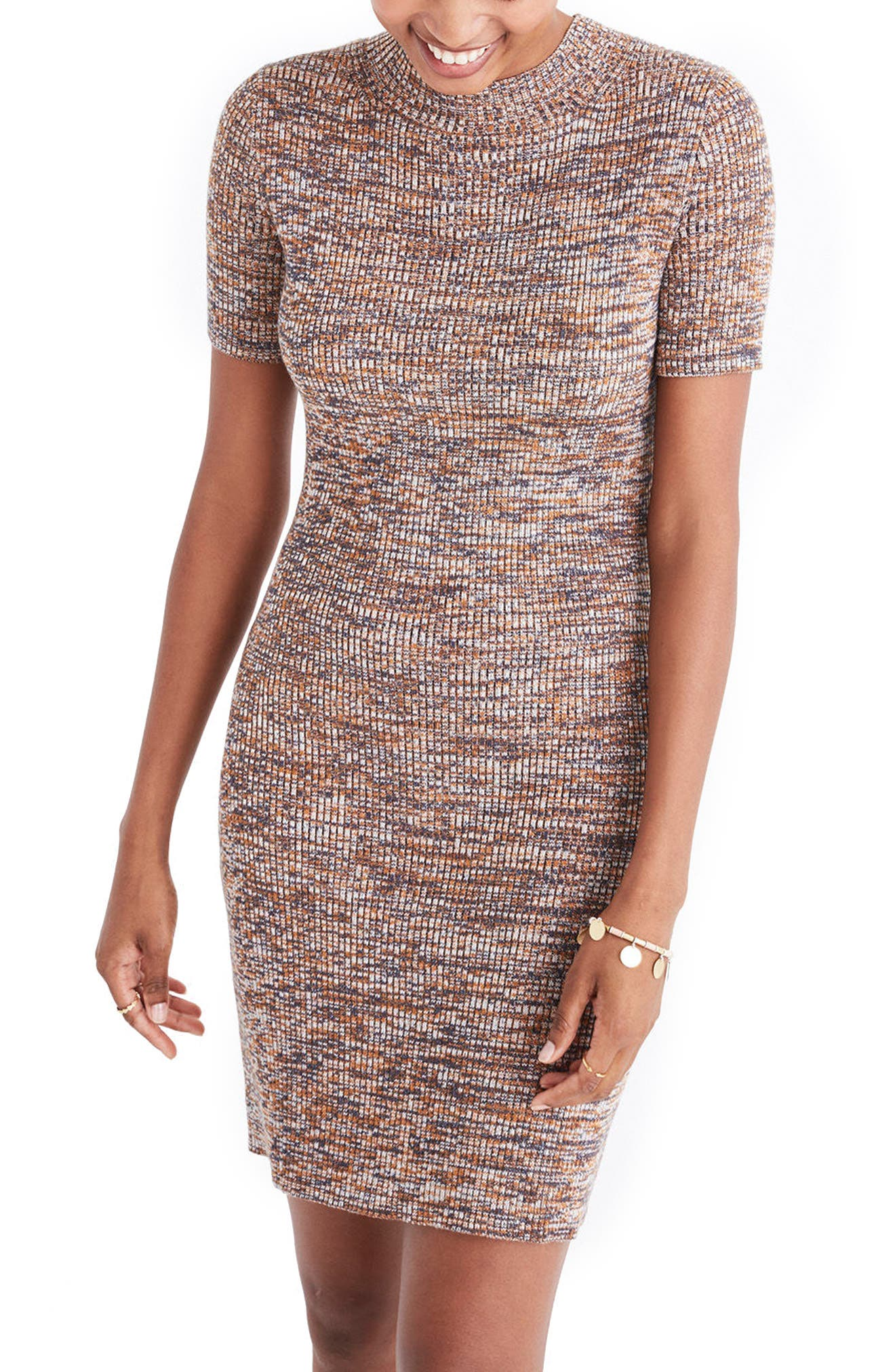 Madewell Marled Mock Neck Sweater Dress