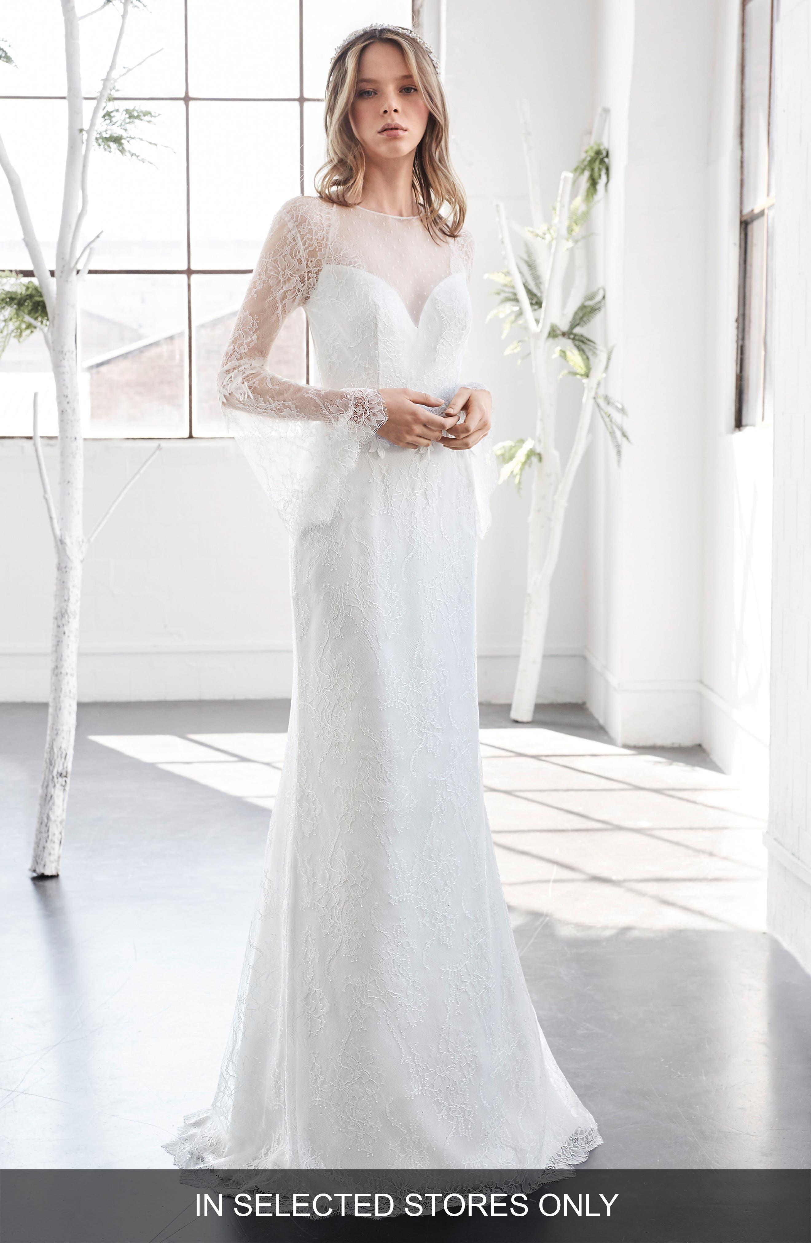 Inmaculada García Rubi Bell Sleeve Illusion Sheath Gown,                         Main,                         color, Ivory