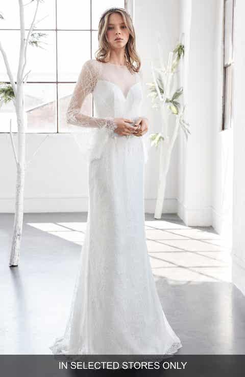 Inmaculada Garcia Rubi Bell Sleeve Illusion Sheath Gown