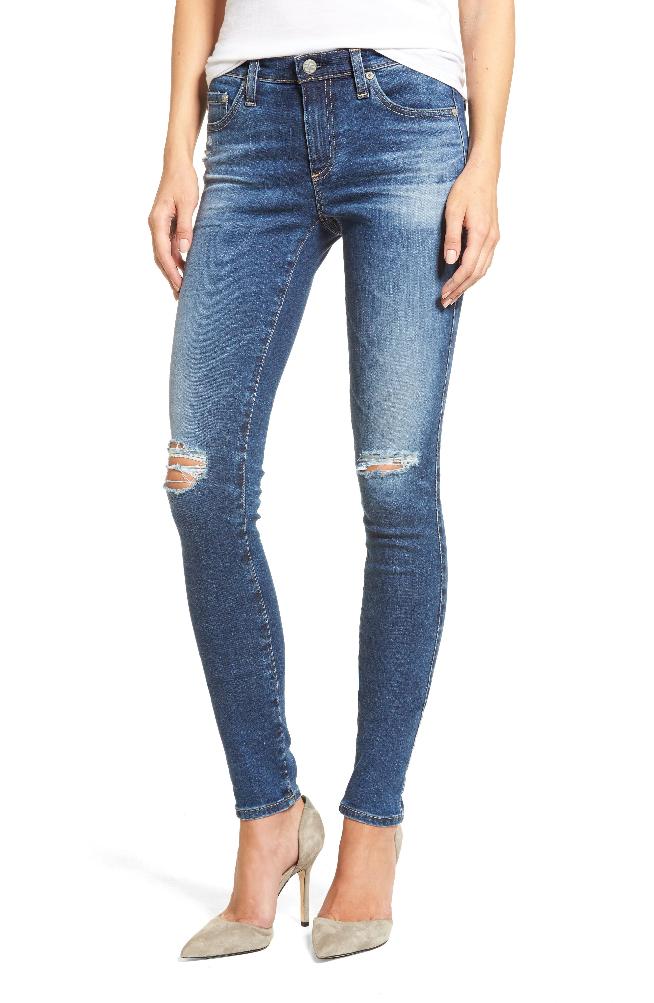 Alternate Image 1 Selected - AG The Legging Super Skinny Jeans (13 Years Daybreak Destroyed)