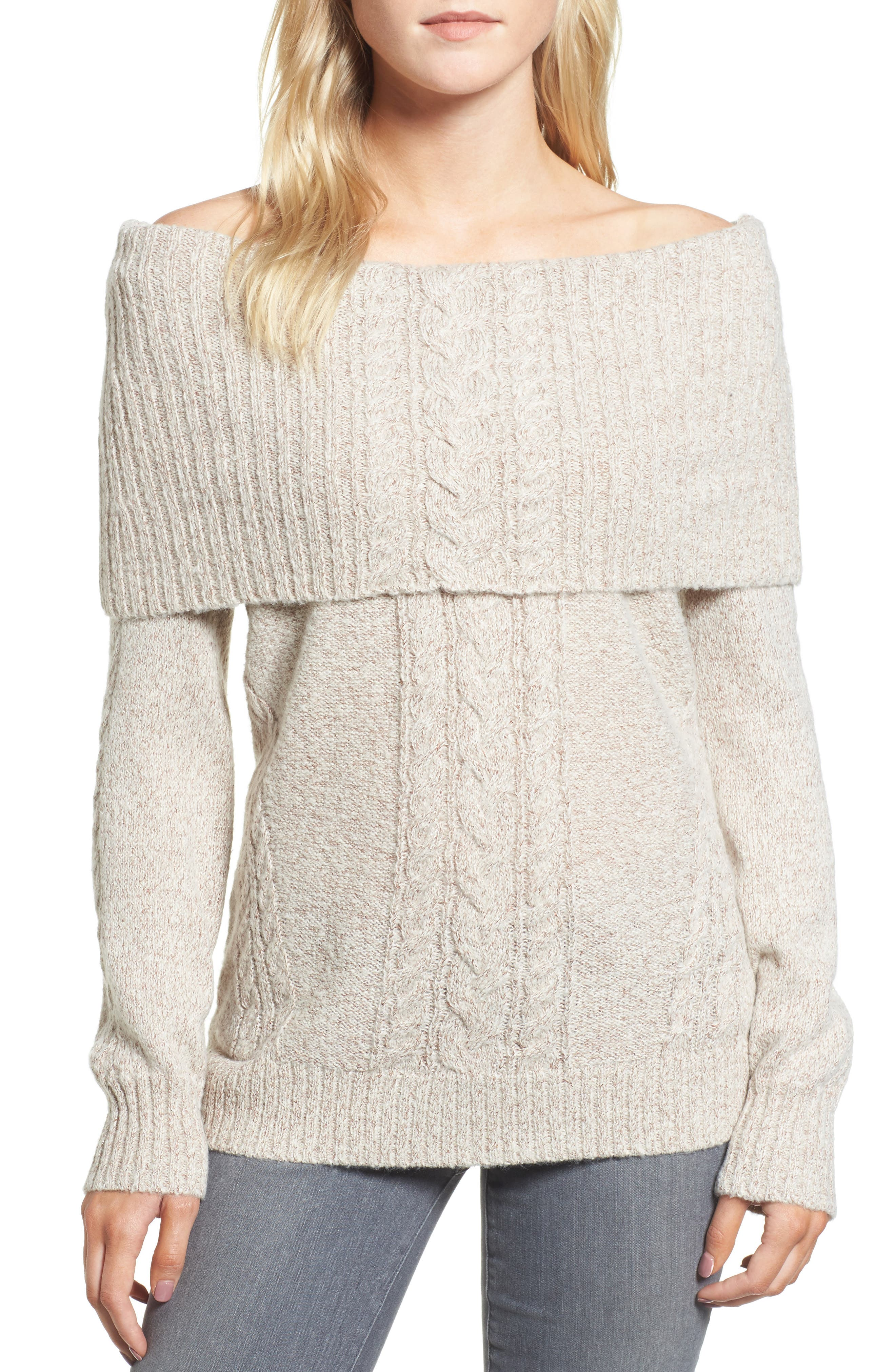 Off the Shoulder Sweater,                             Main thumbnail 1, color,                             Ivory Vanilla Champagne Combo