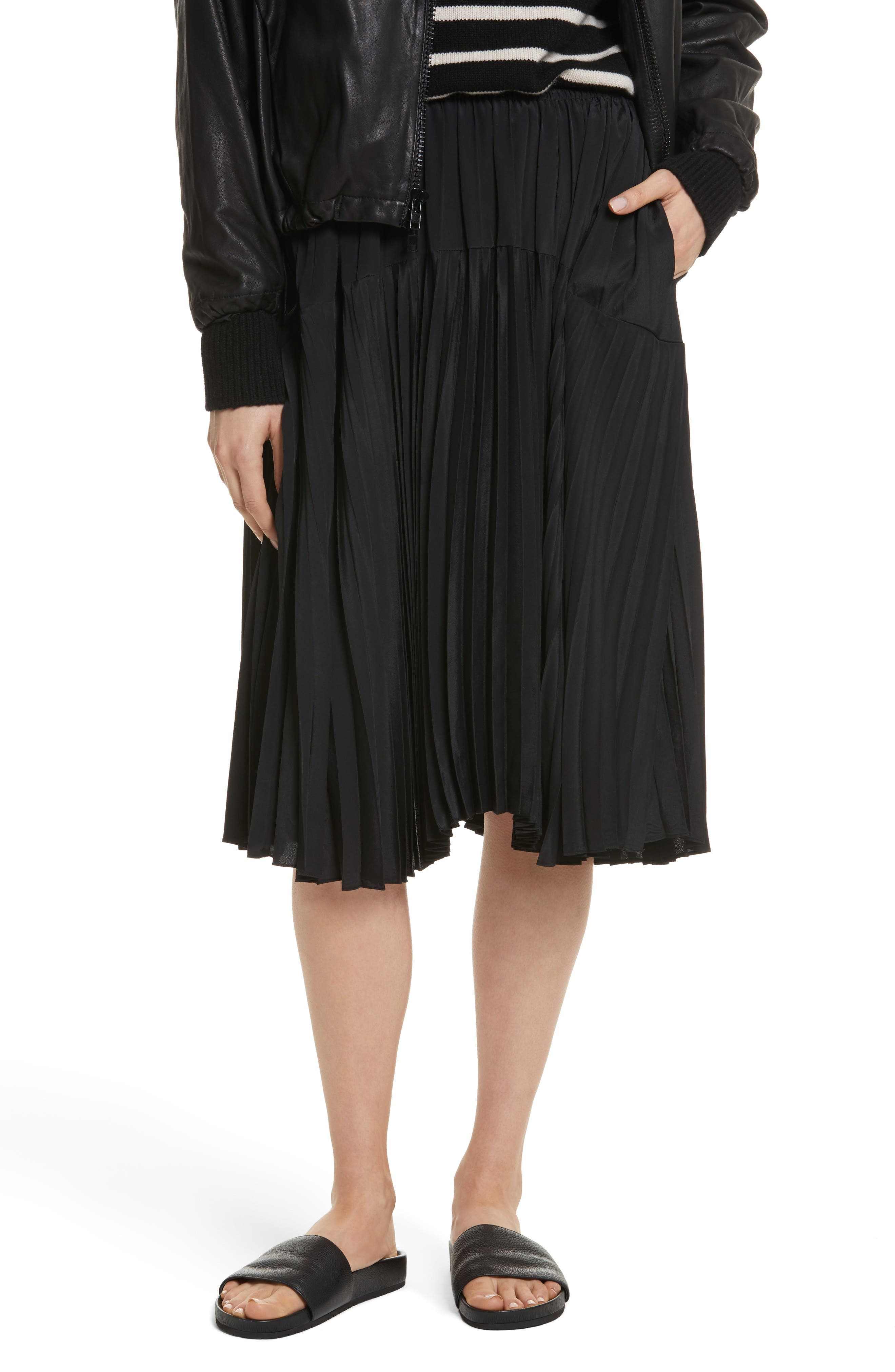 Pleated Skirt,                         Main,                         color, Black