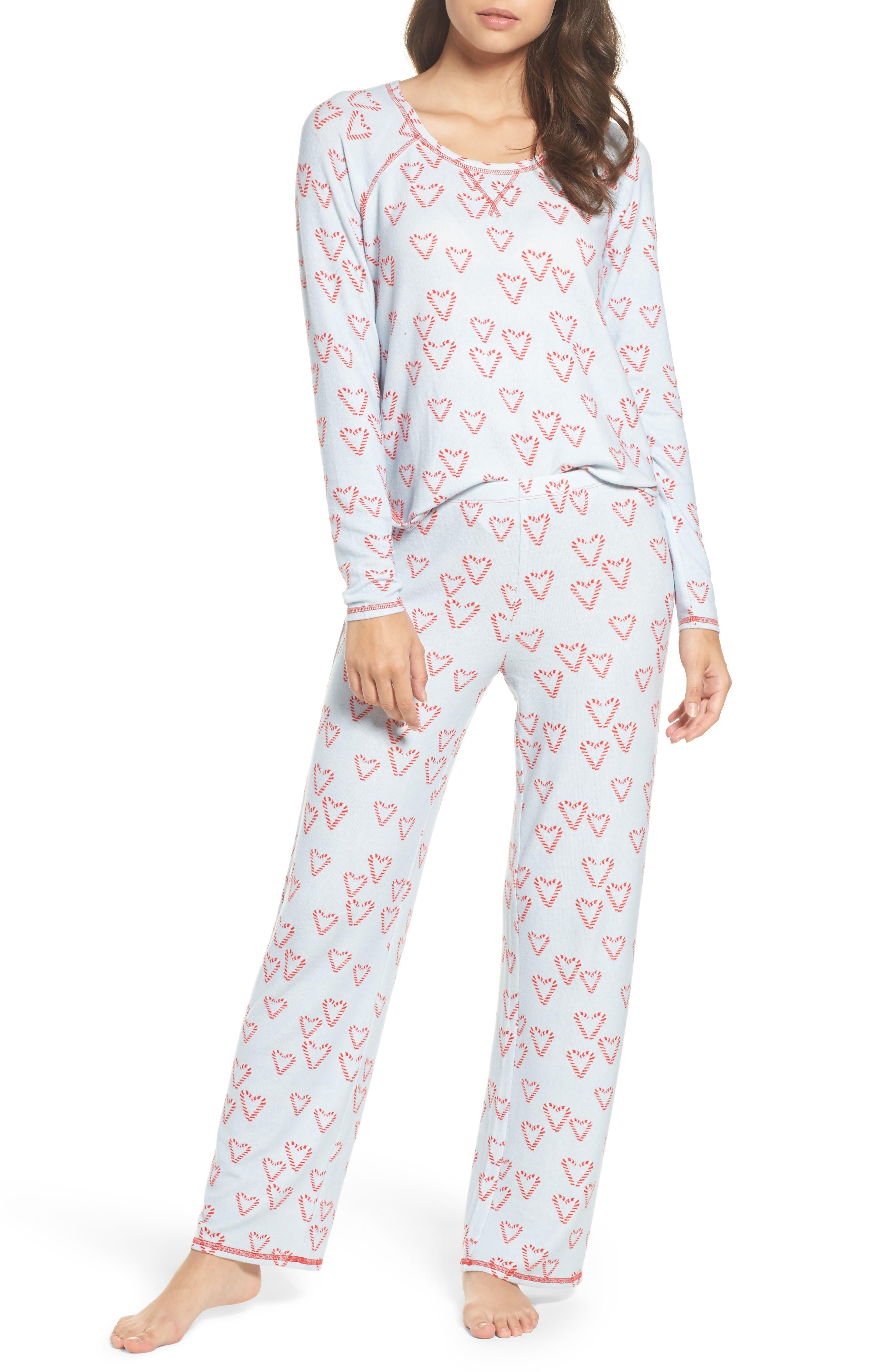 Alternate Image 1 Selected - Make + Model Knit Girlfriend Pajamas & Eye Mask