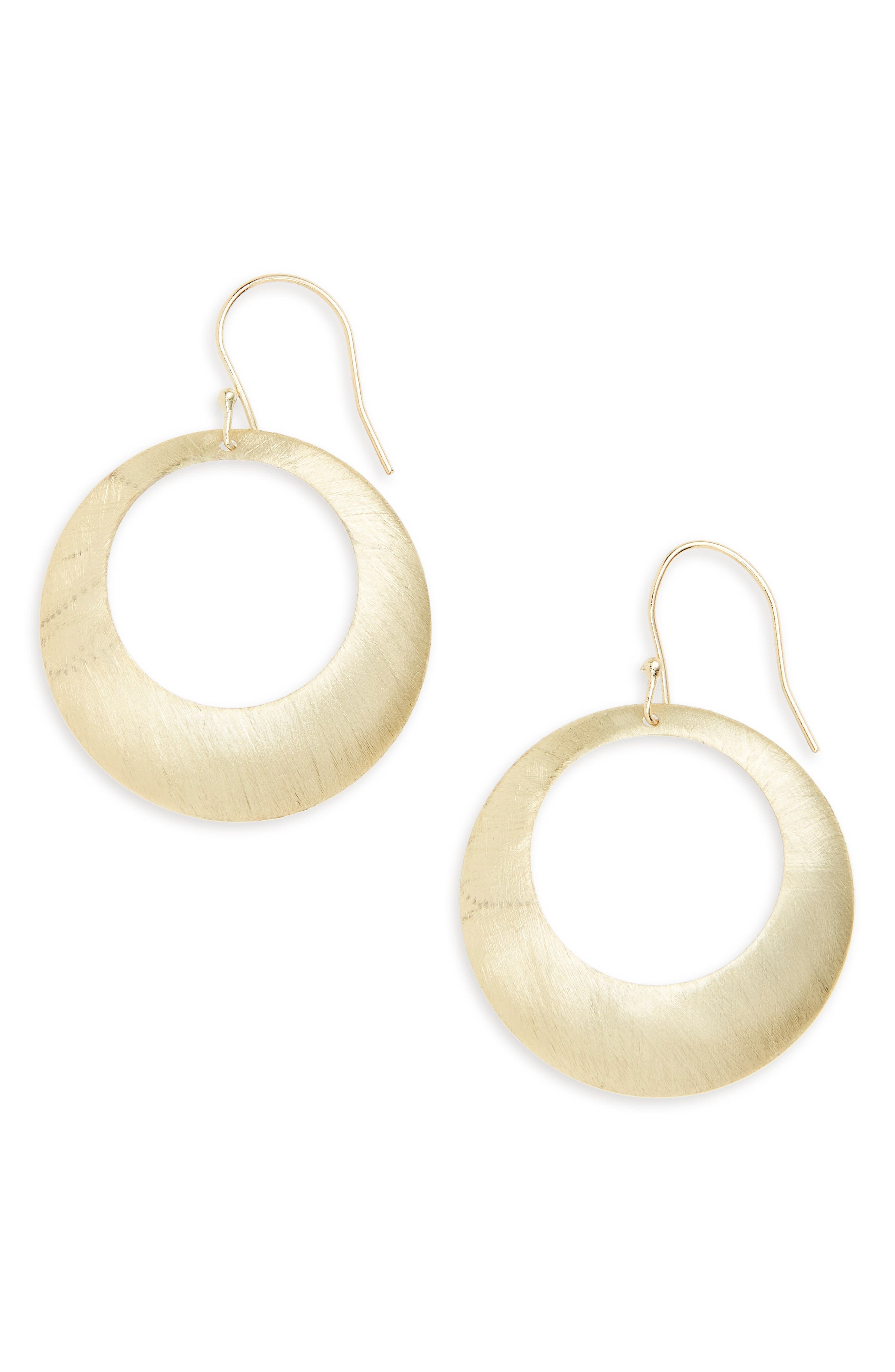 Brushed Circle Earrings,                         Main,                         color, Gold
