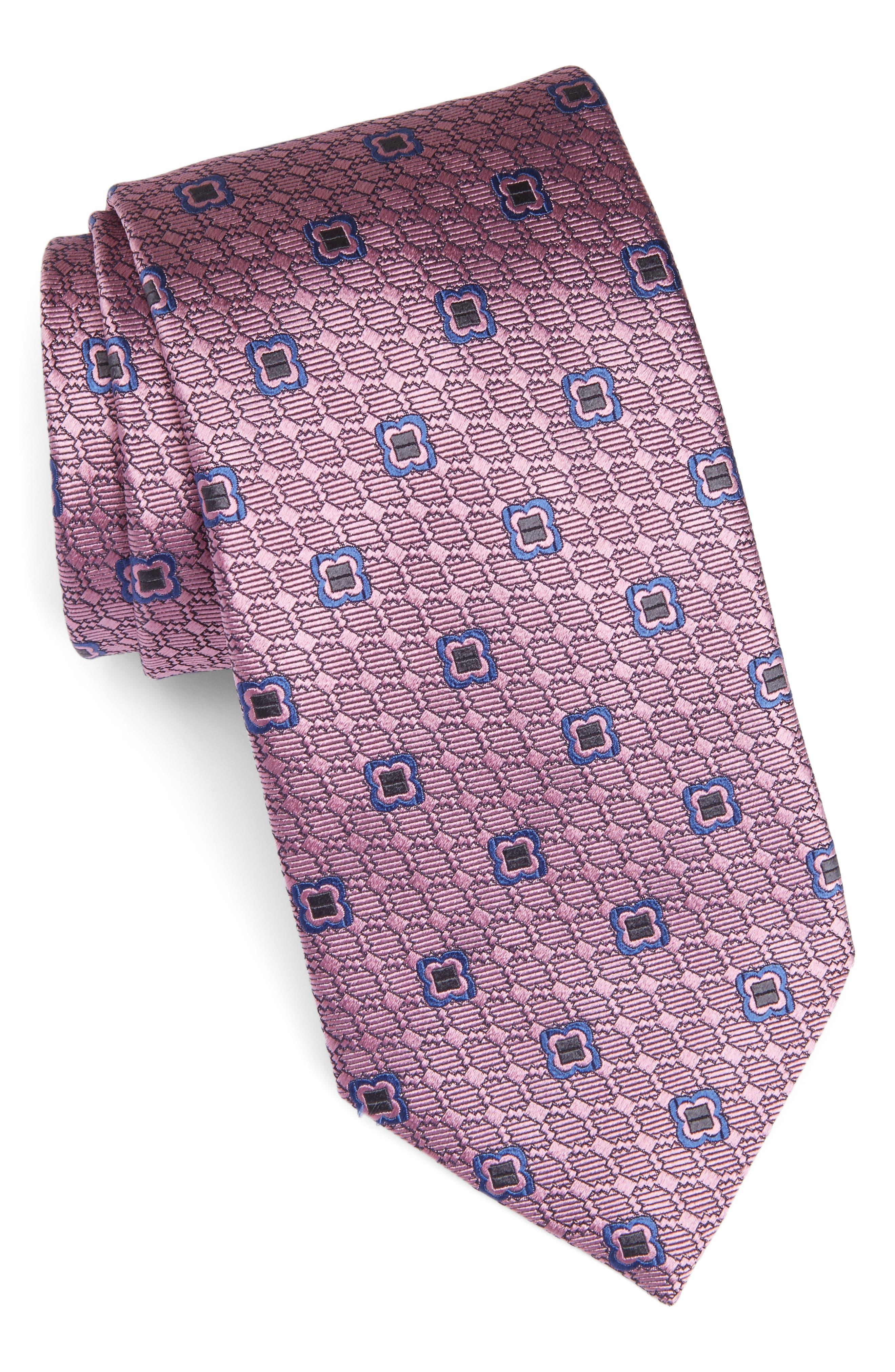 Geometric Silk Tie,                             Main thumbnail 1, color,                             Pink