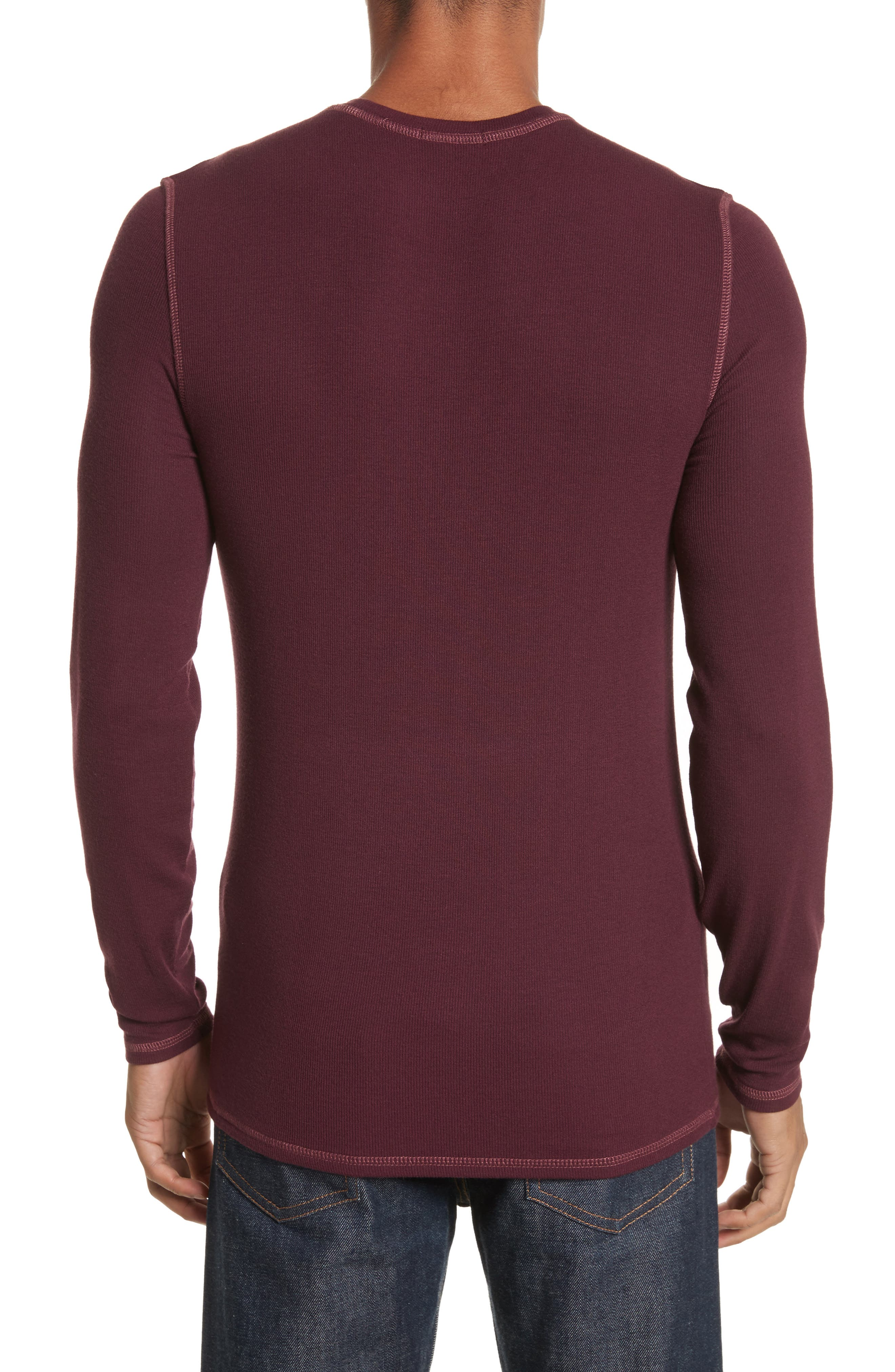 Rib Modal Crewneck Sweater,                             Alternate thumbnail 2, color,                             Merlot