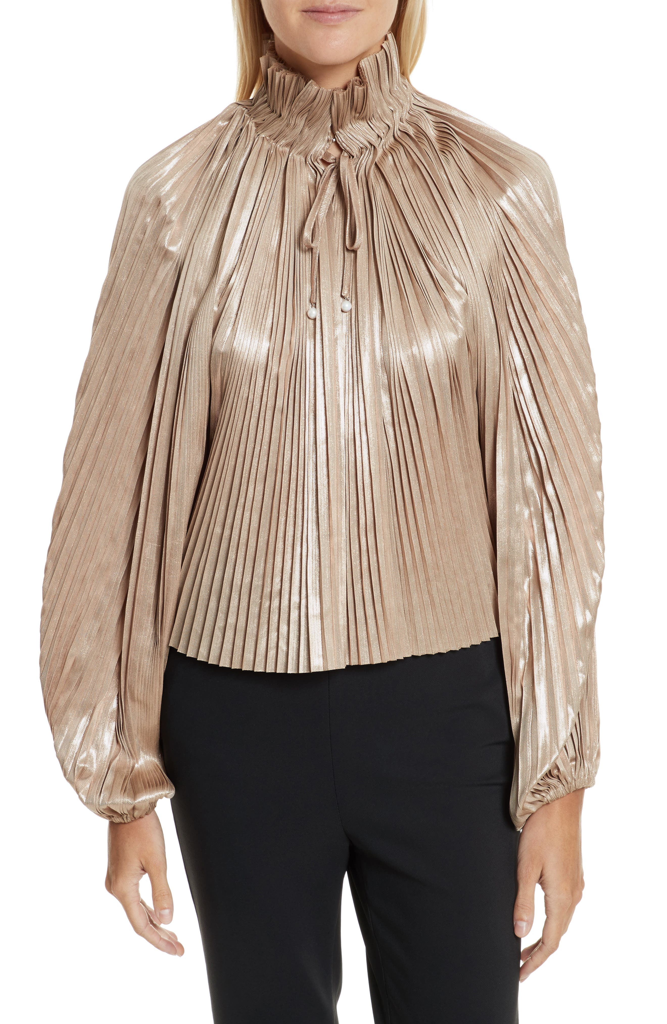 Foil Pleated Top,                         Main,                         color, Pearlescent