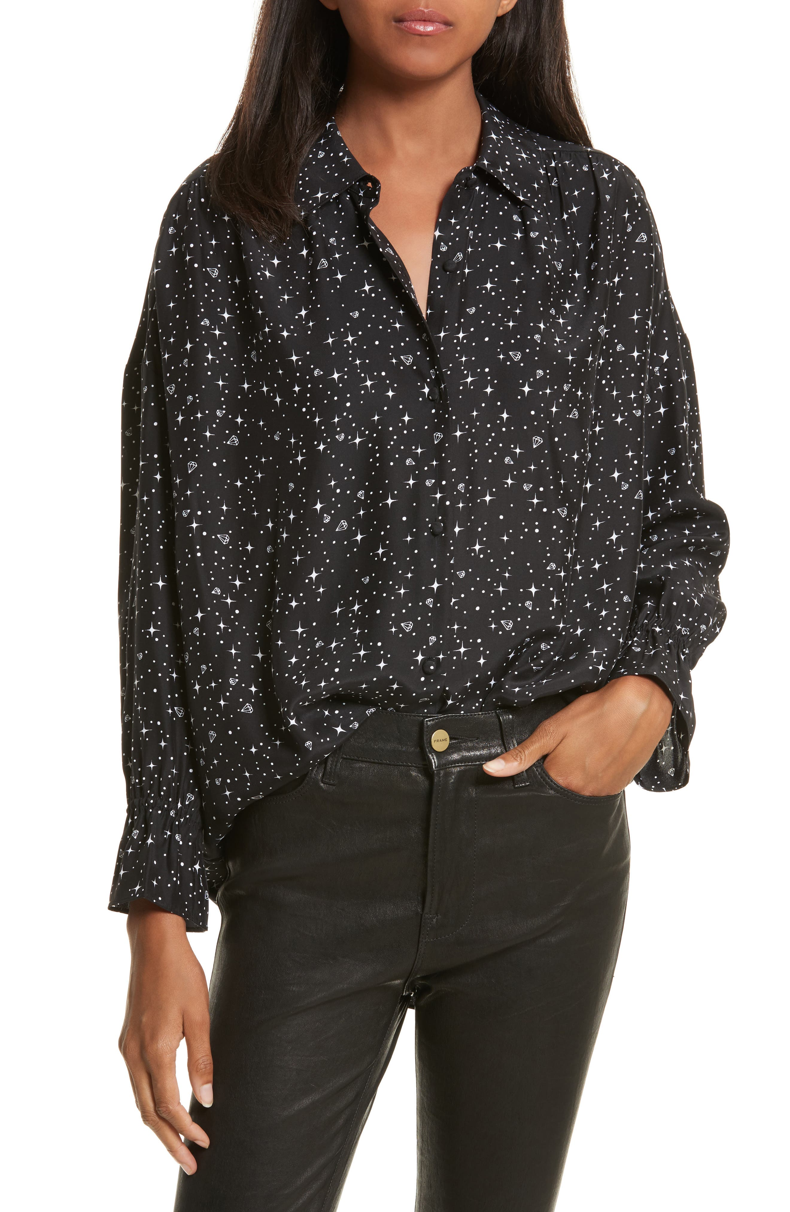 Alternate Image 1 Selected - FRAME Flare Cuff Silk Shirt