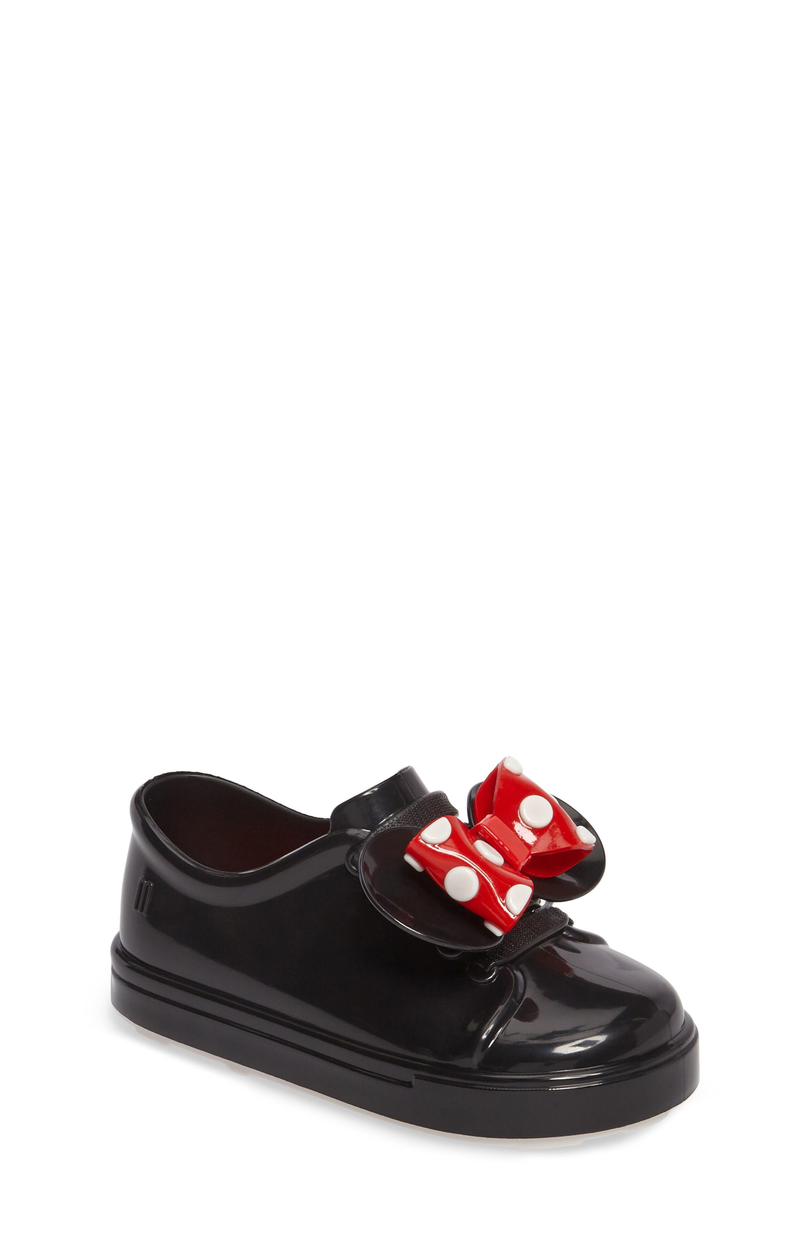 Mini Melissa Disney<sup>®</sup> Be Minnie Slip-On Sneaker,                         Main,                         color, Black Glossy