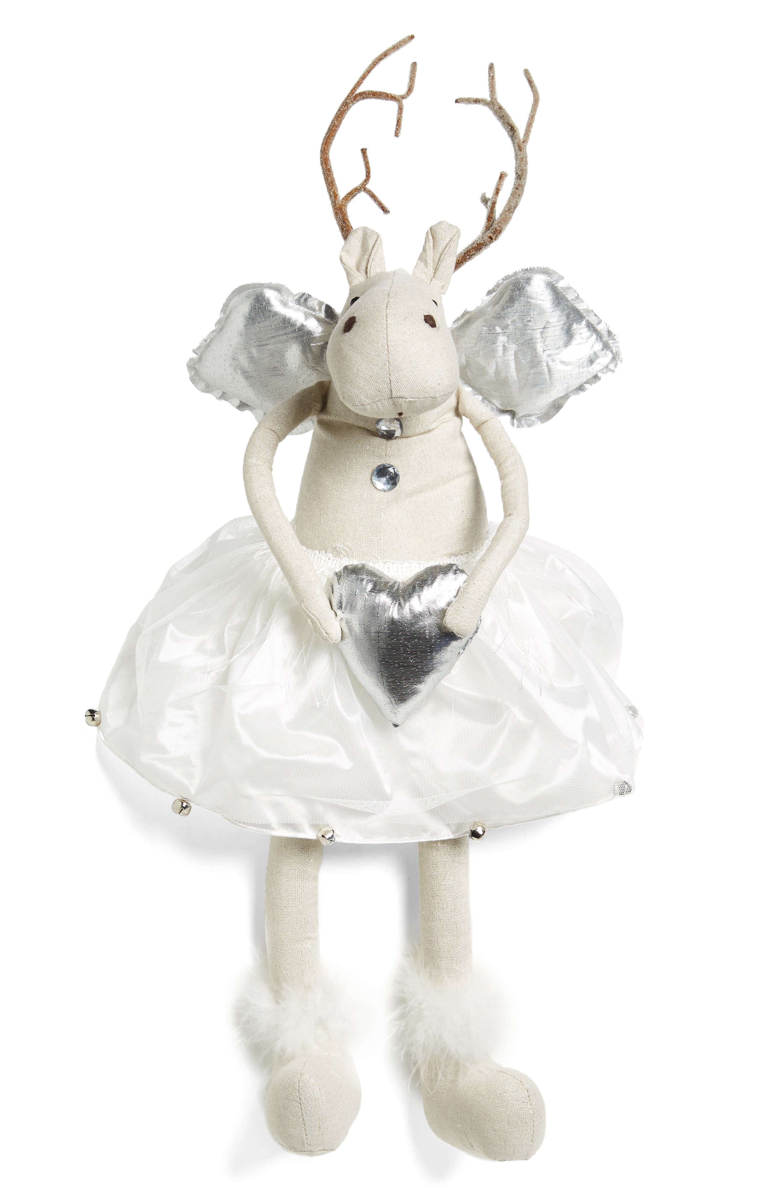 Reindeer Angel Decoration,                         Main,                         color, White