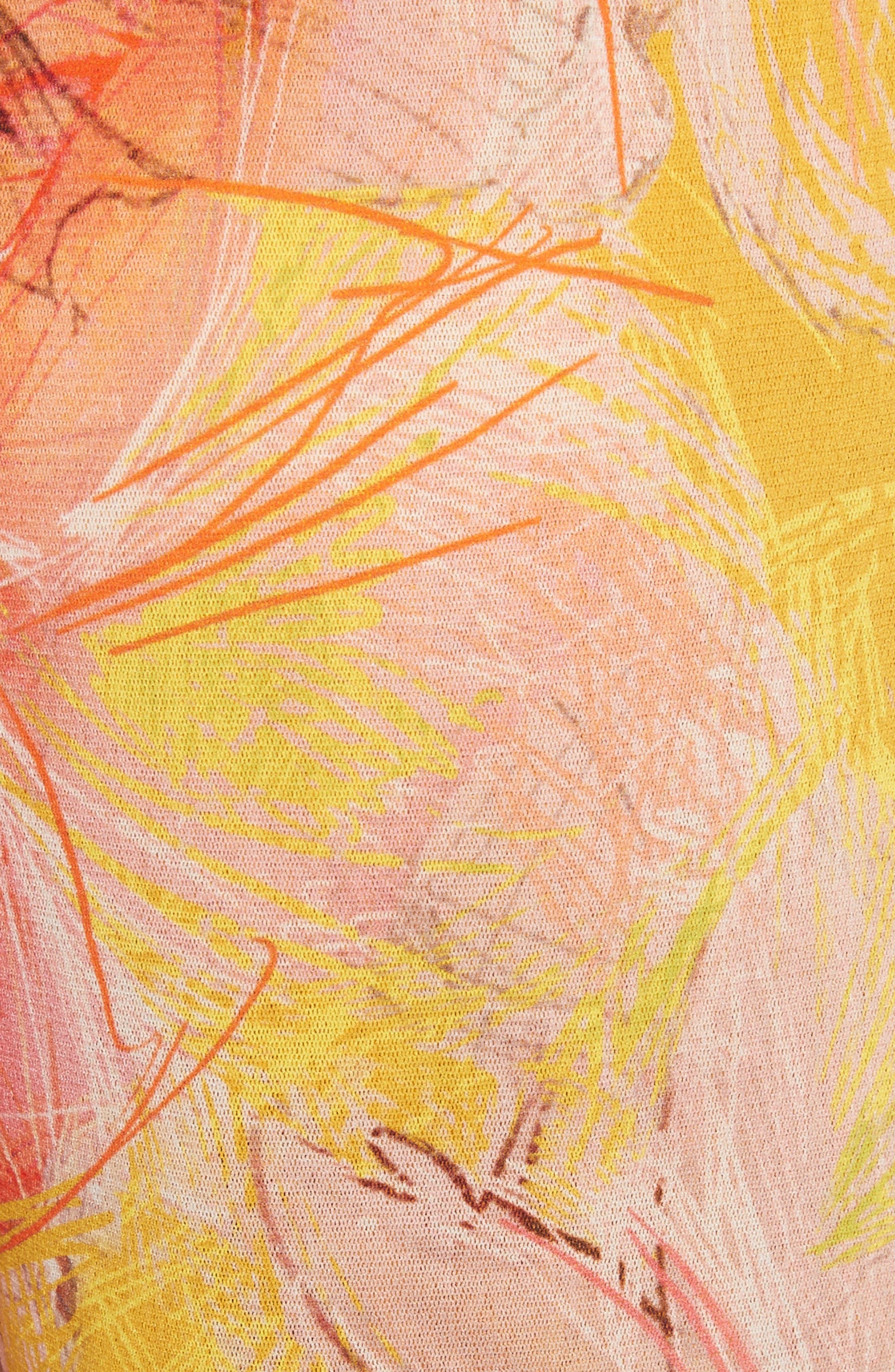 Print Tulle One-Shoulder Jumpsuit,                             Alternate thumbnail 6, color,                             Sole