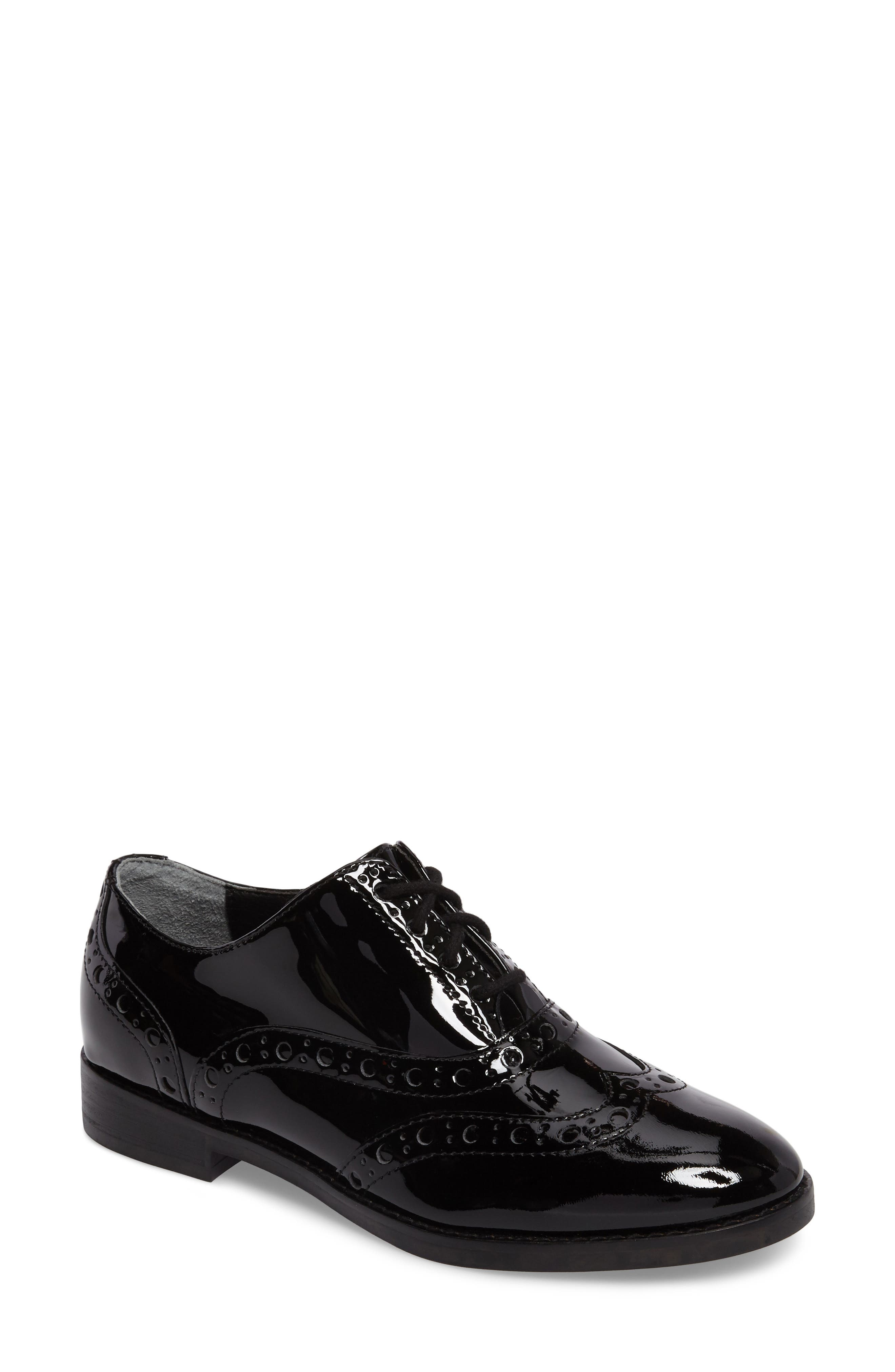 Hadley Wingtip,                             Main thumbnail 1, color,                             Black Patent Leather