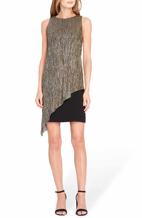 Tahari Metallic Overlay Sheath Dress