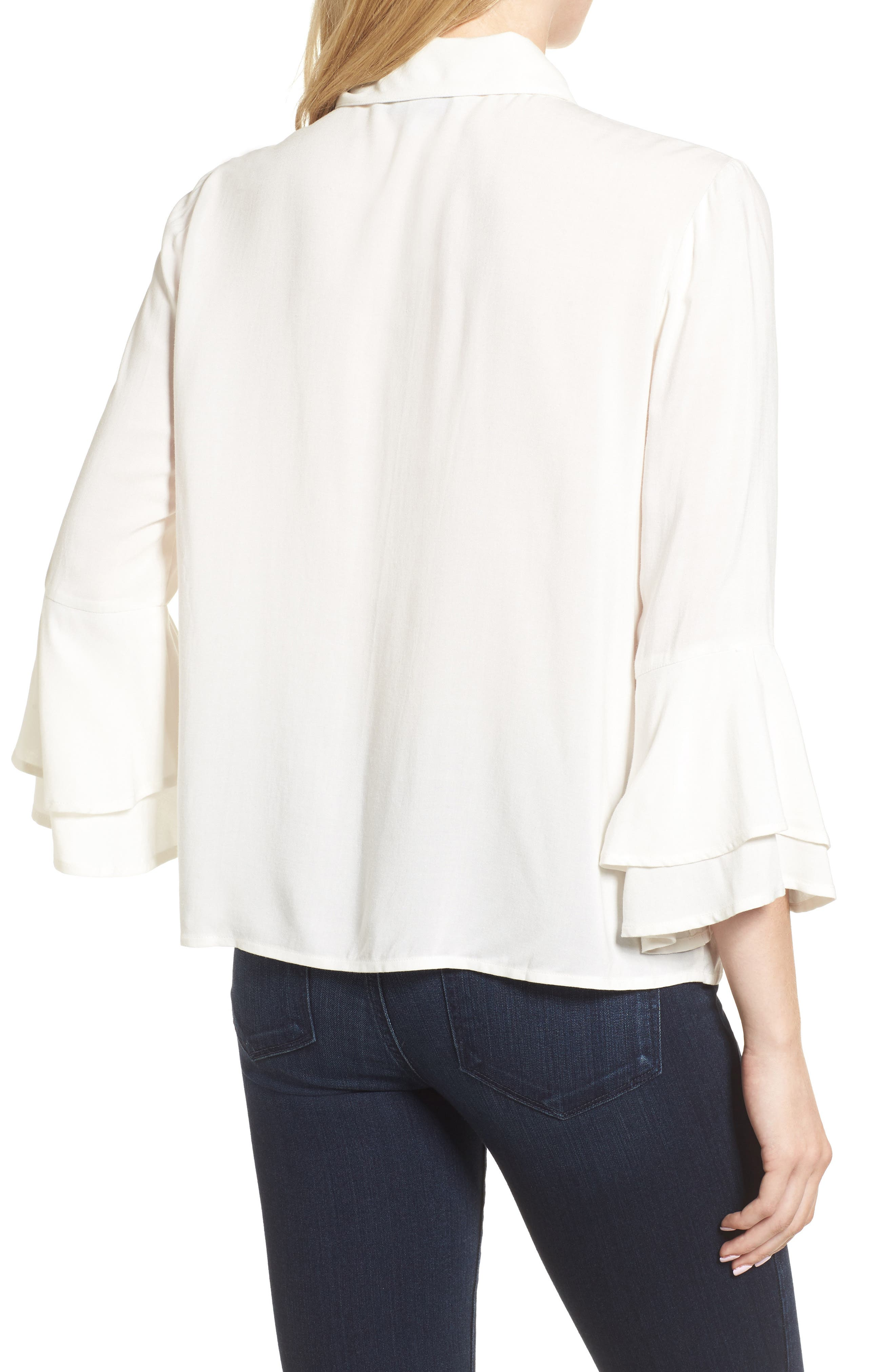 Kymberly Embroidered Blouse,                             Alternate thumbnail 2, color,                             Ivory