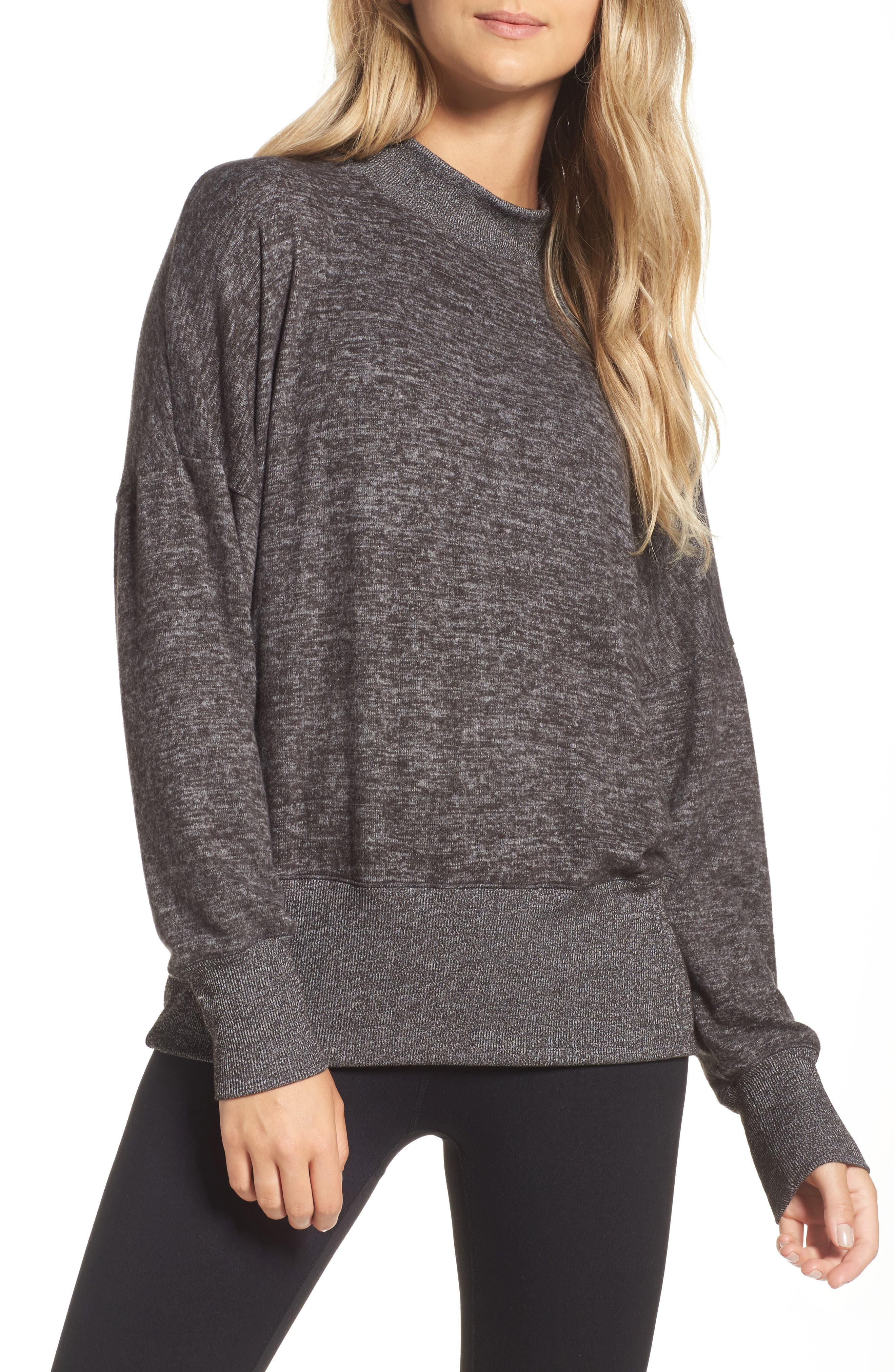 Cozy Mock Neck Pullover,                         Main,                         color, Charcoal Heather