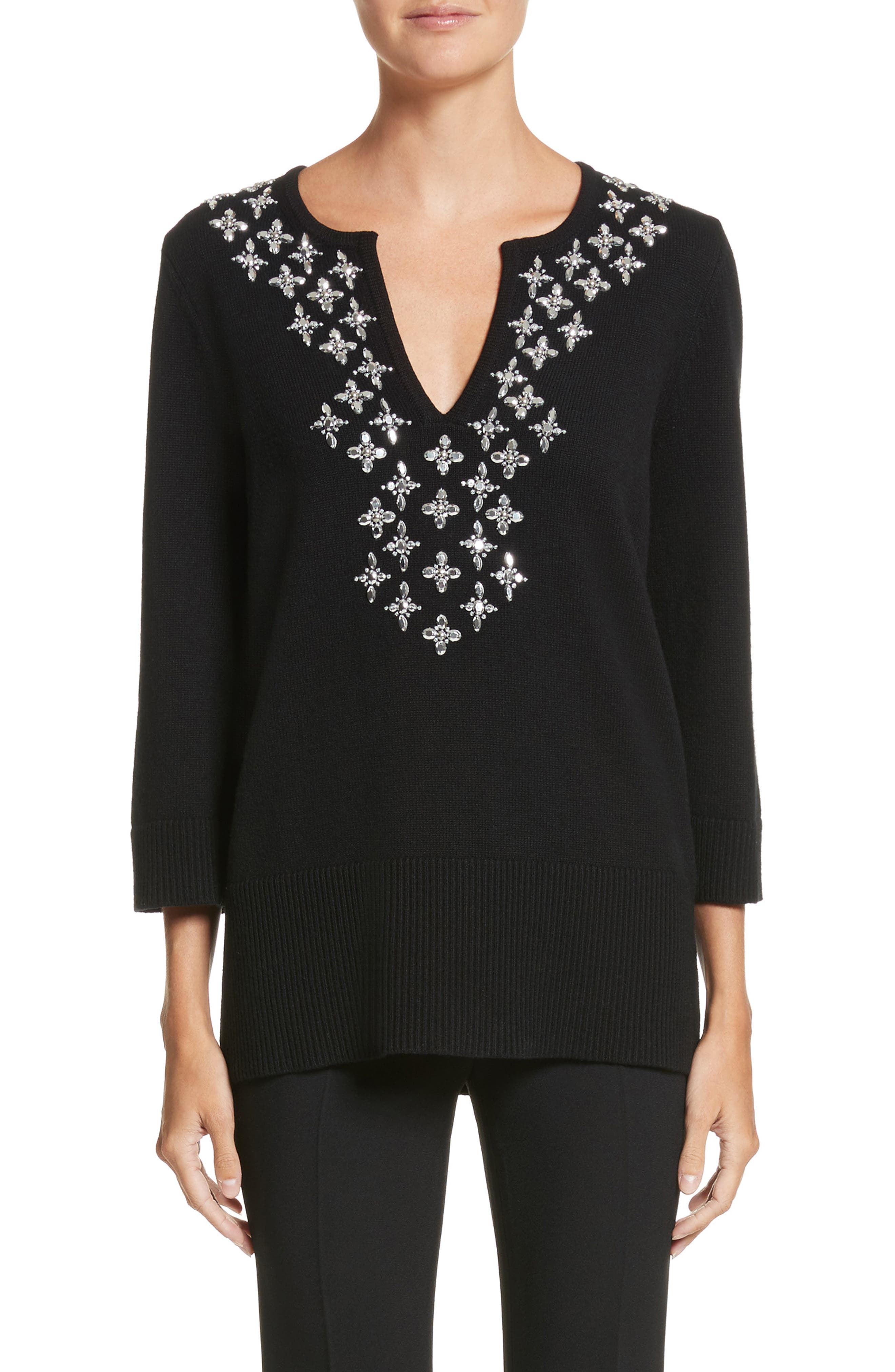 Embellished Cashmere Tunic,                             Main thumbnail 1, color,                             Black