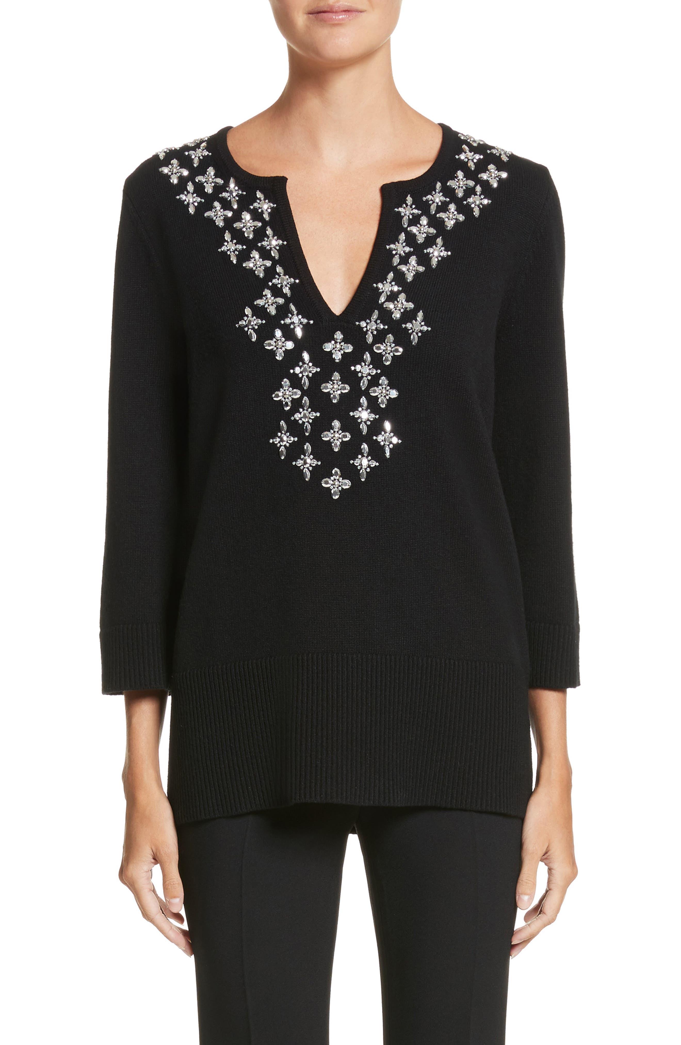 Embellished Cashmere Tunic,                         Main,                         color, Black