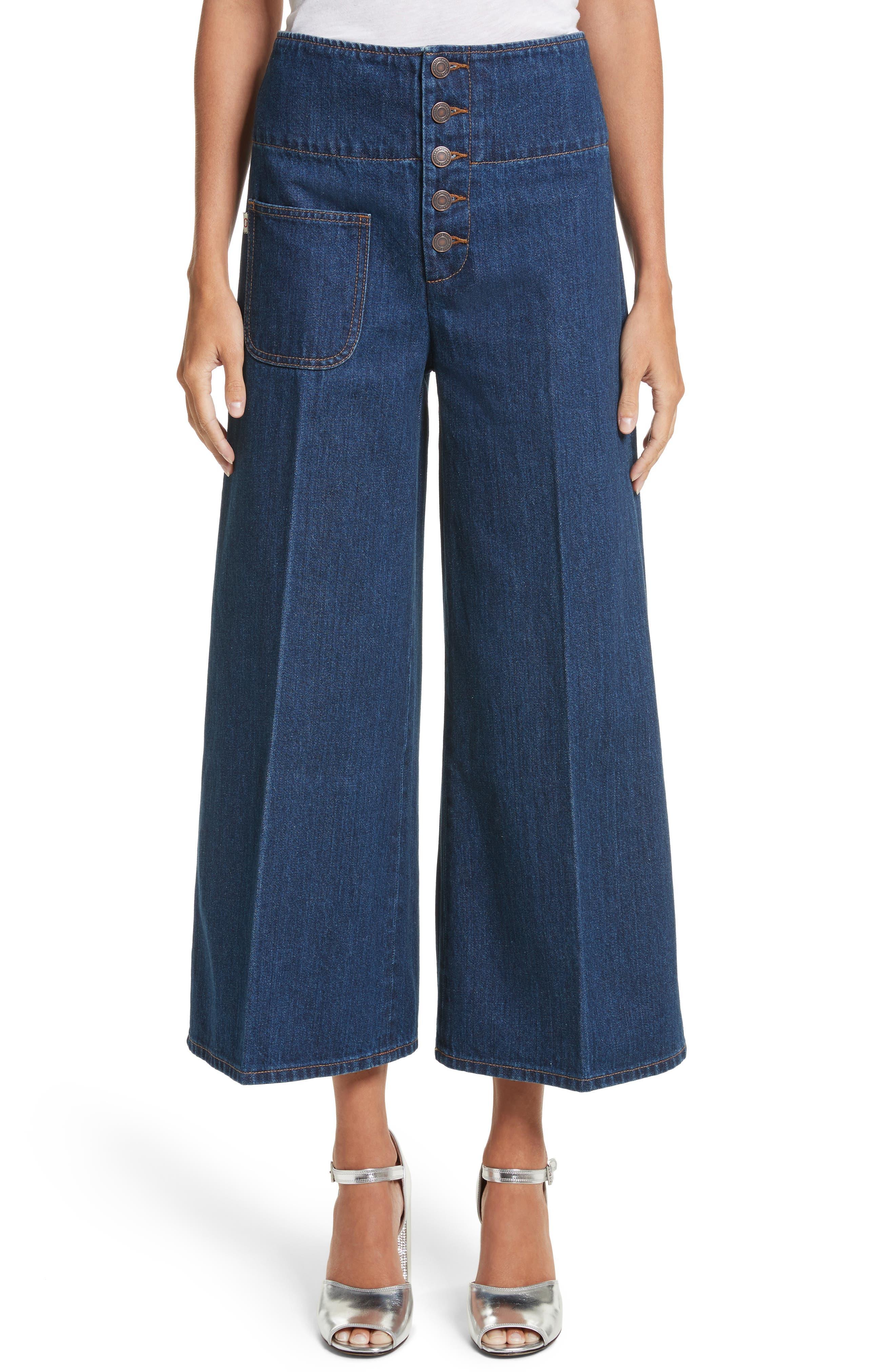Wide Leg Crop Jeans,                         Main,                         color, Indigo