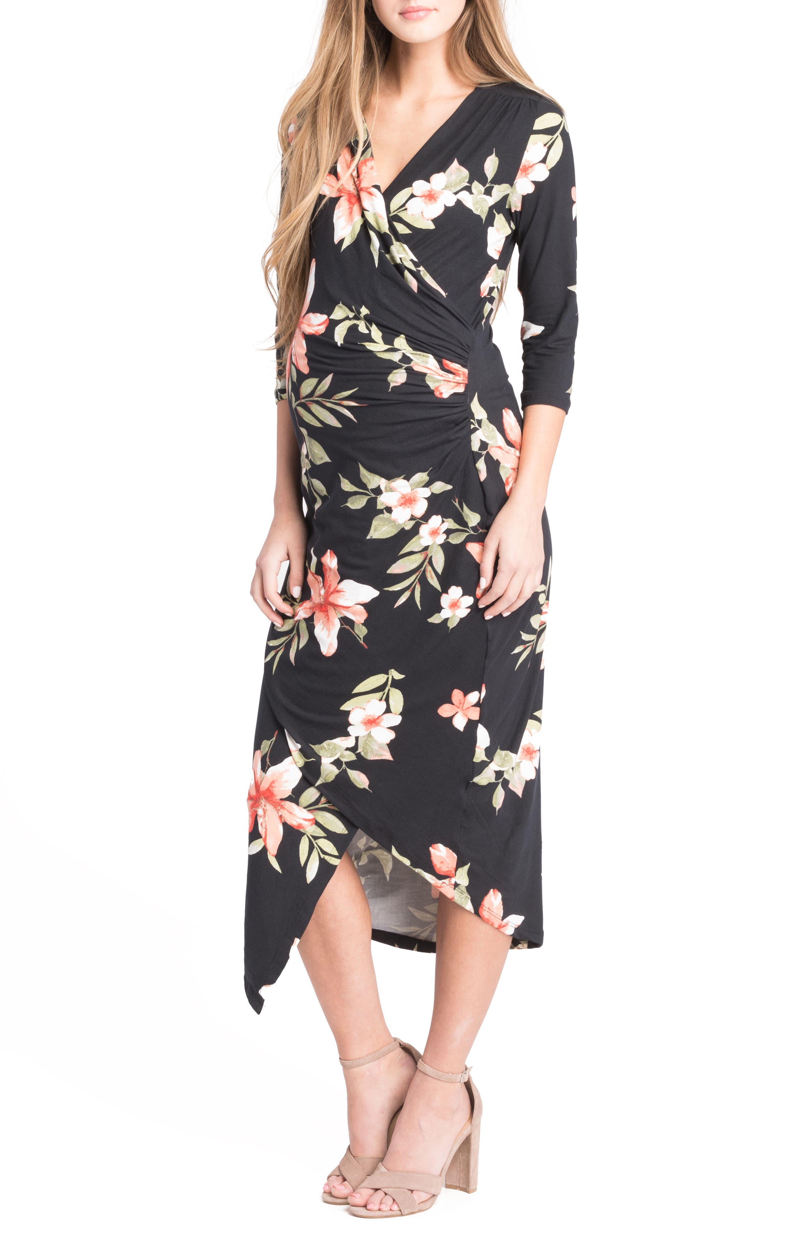 Lilac Clothing Asymmetrical Surplice Maternity/Nursing Dress