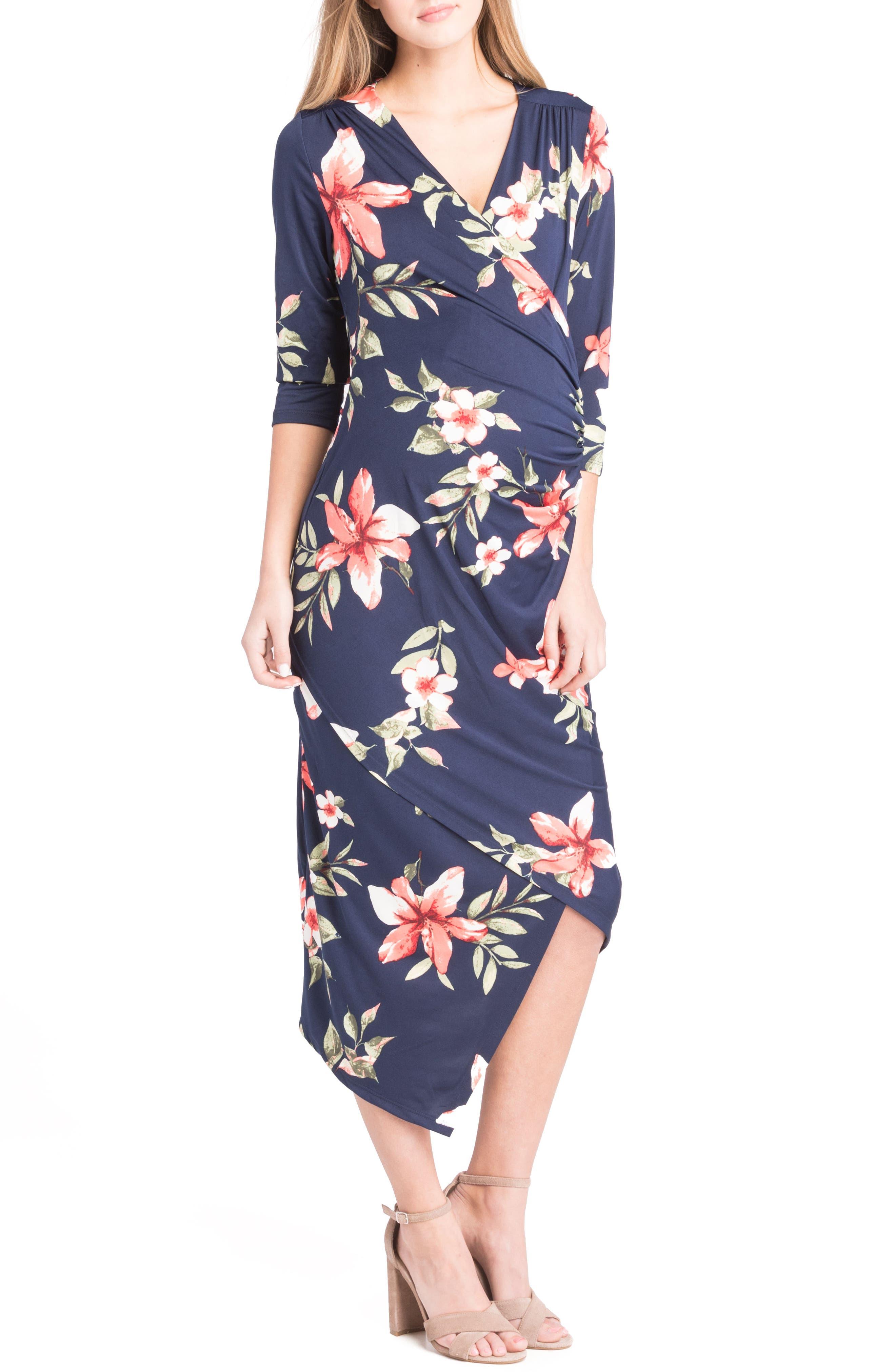 Alternate Image 1 Selected - Lilac Clothing Asymmetrical Surplice Maternity/Nursing Dress