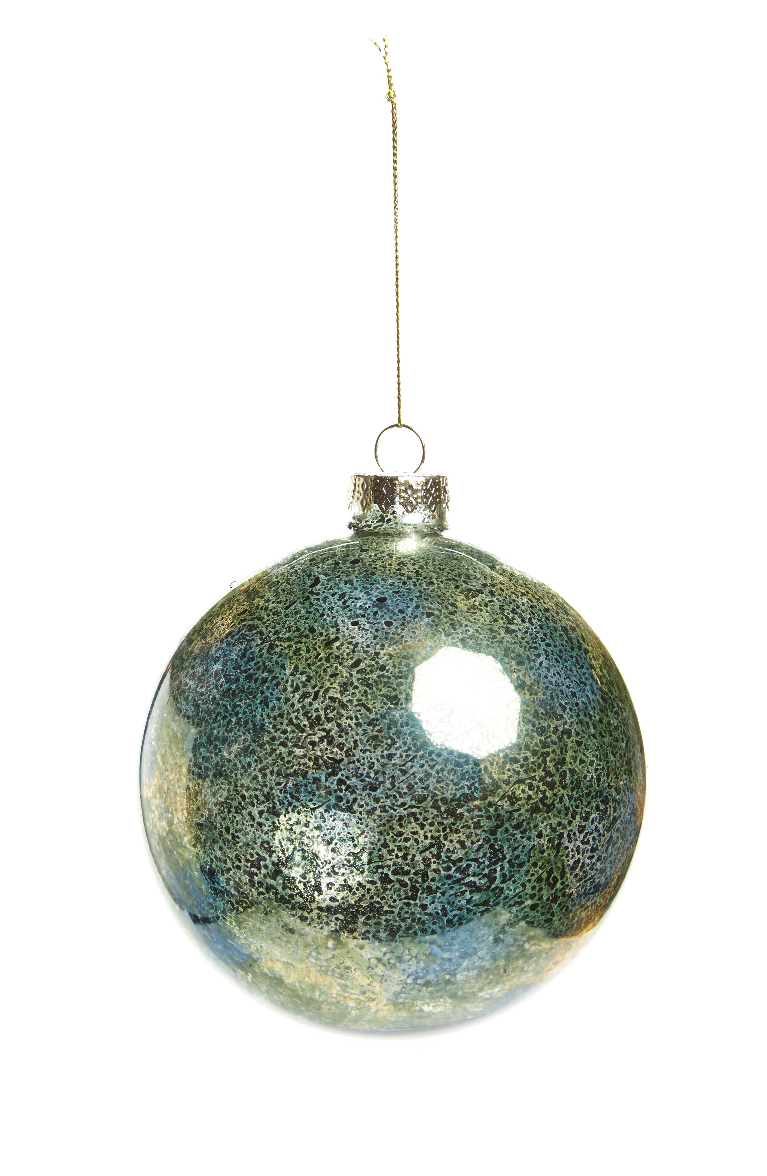 Mercury Glass Ball Ornament,                         Main,                         color, Green