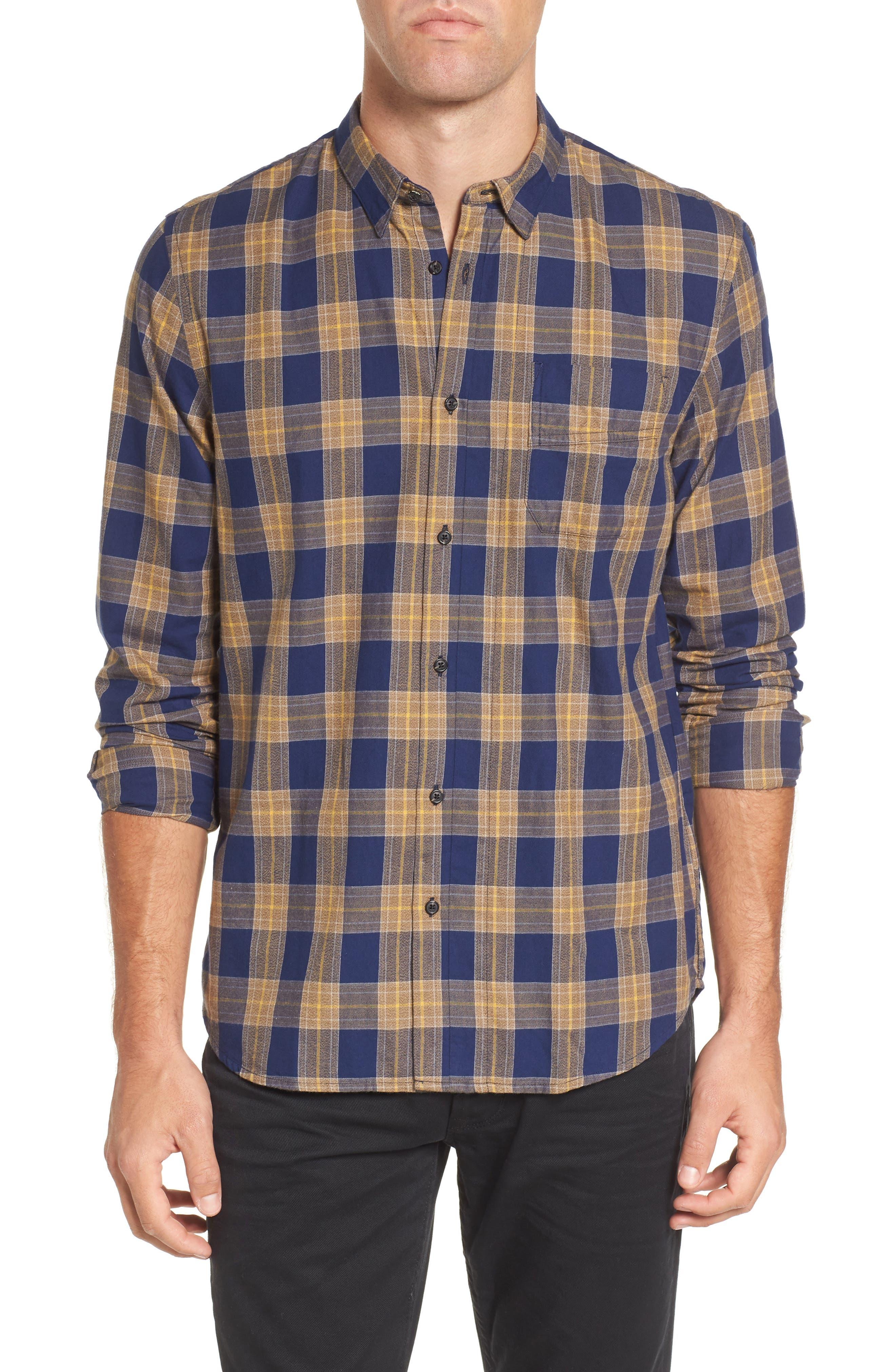 Scotch & Sode Brushed Cotton Shirt,                         Main,                         color, Blue