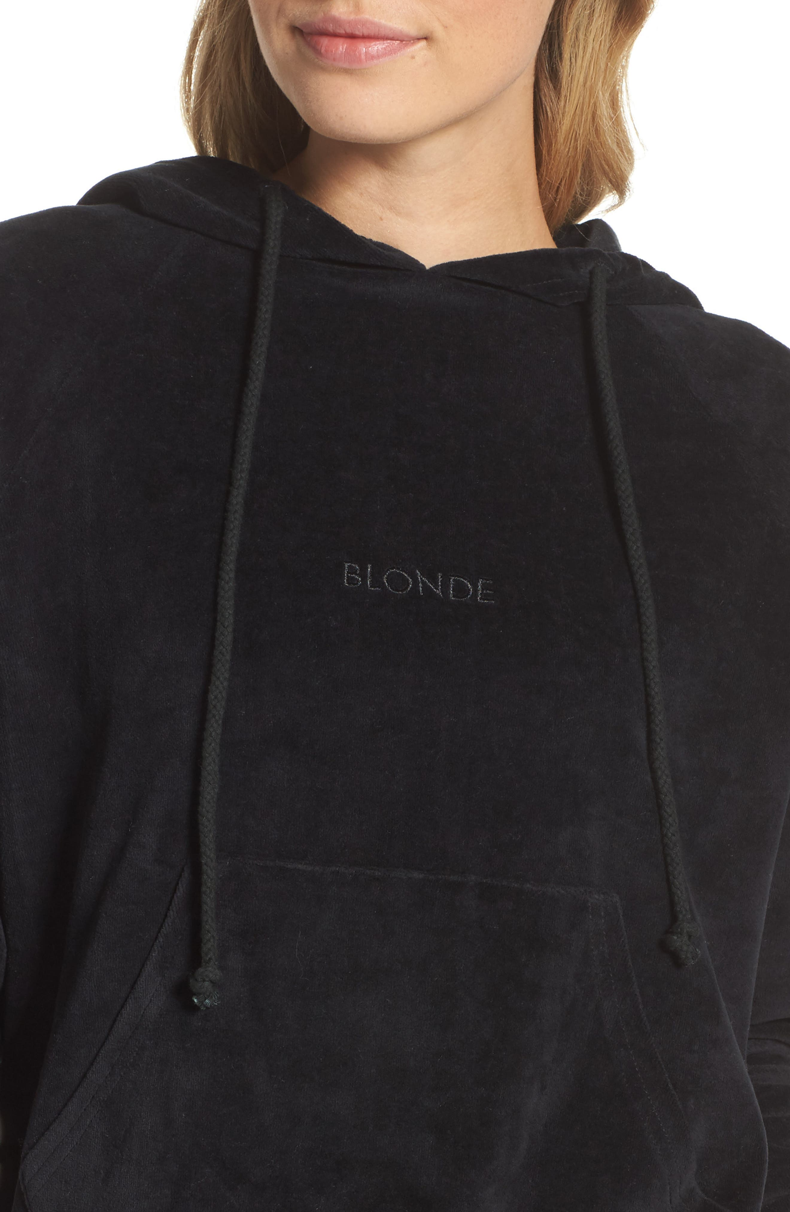 Blonde Embroidered Velour Hoodie,                             Alternate thumbnail 6, color,                             Black