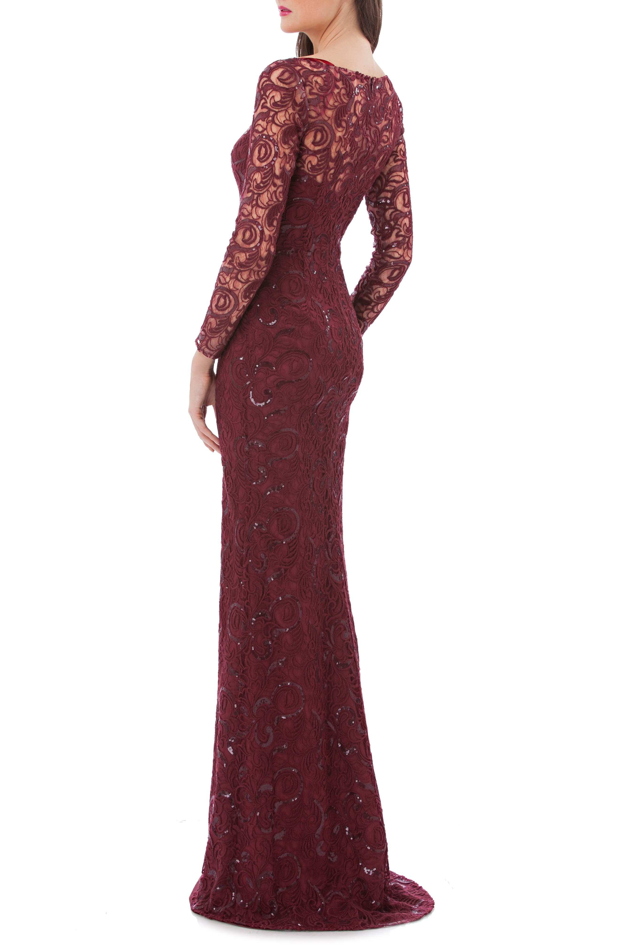 Sequin Lace Mermaid Gown,                             Alternate thumbnail 2, color,                             Ruby