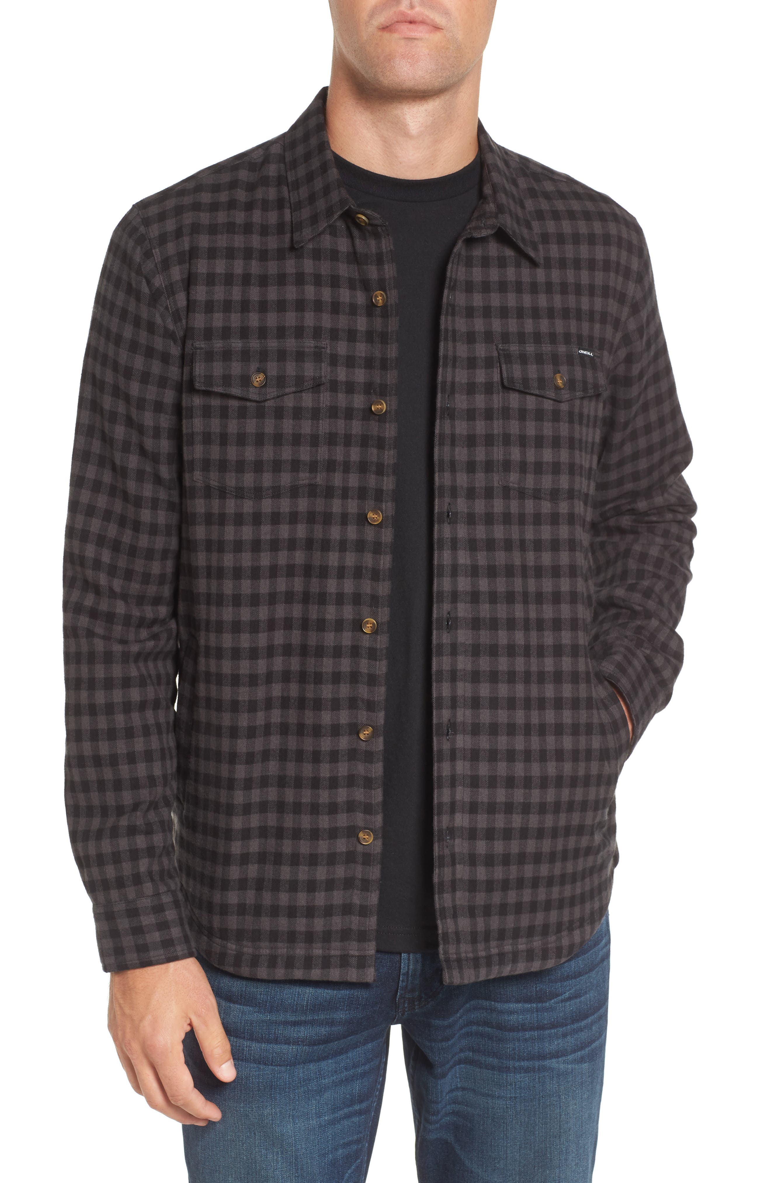 Gronk Lined Flannel Shirt,                         Main,                         color, Black