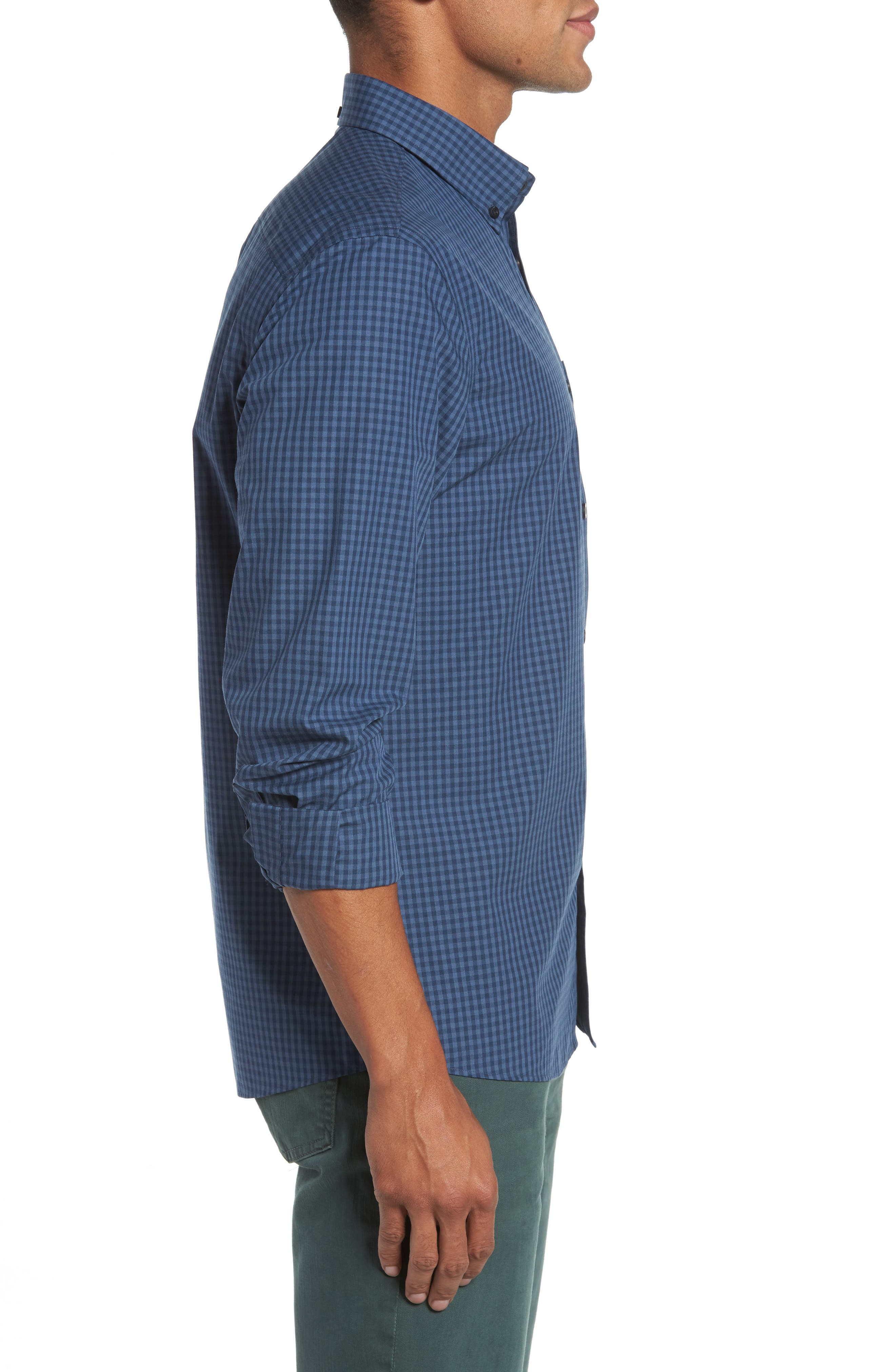 Trim Fit Non-Iron Gingham Sport Shirt,                             Alternate thumbnail 3, color,                             Blue Vintage Navy Gingham