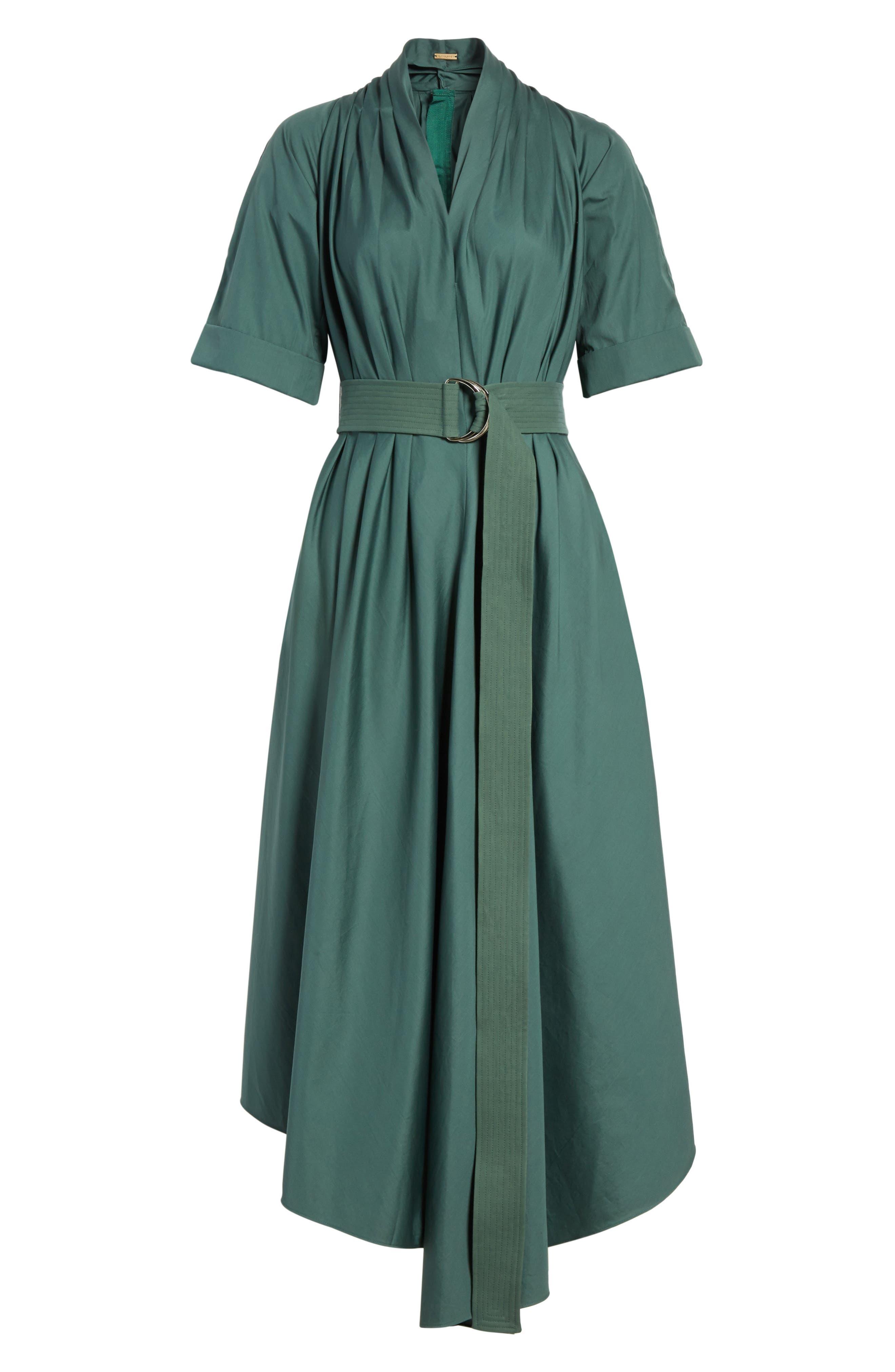 Asymmetrical Cotton Poplin Dress,                             Alternate thumbnail 7, color,                             Sage