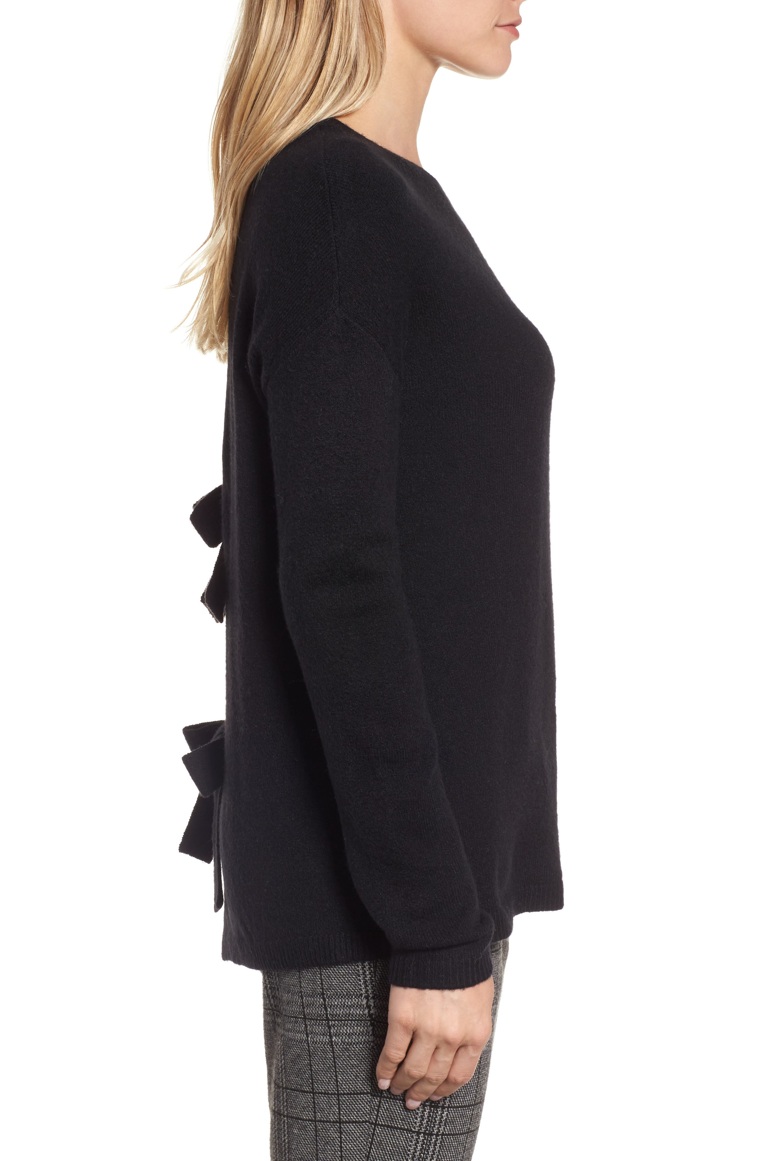 Alternate Image 3  - Halogen® Bow Back Sweater (Regular & Petite)