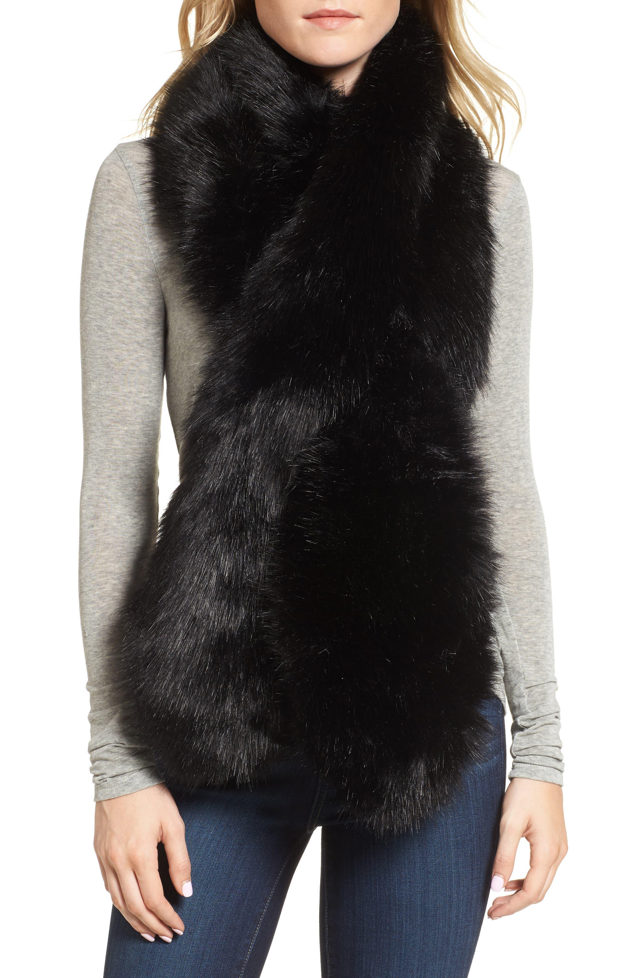 Oversize Faux Fur Wrap,                             Main thumbnail 1, color,                             Black