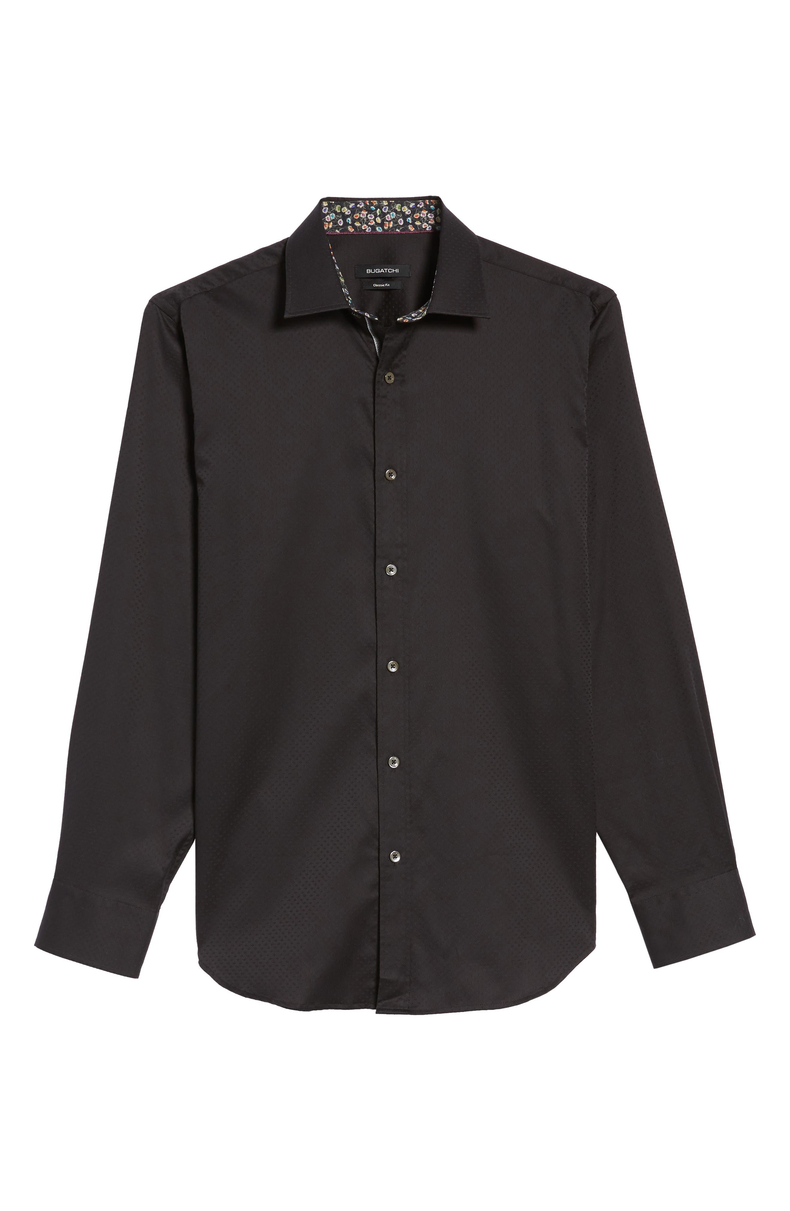 Classic Fit Diamond Jacquard Sport Shirt,                             Alternate thumbnail 6, color,                             Black
