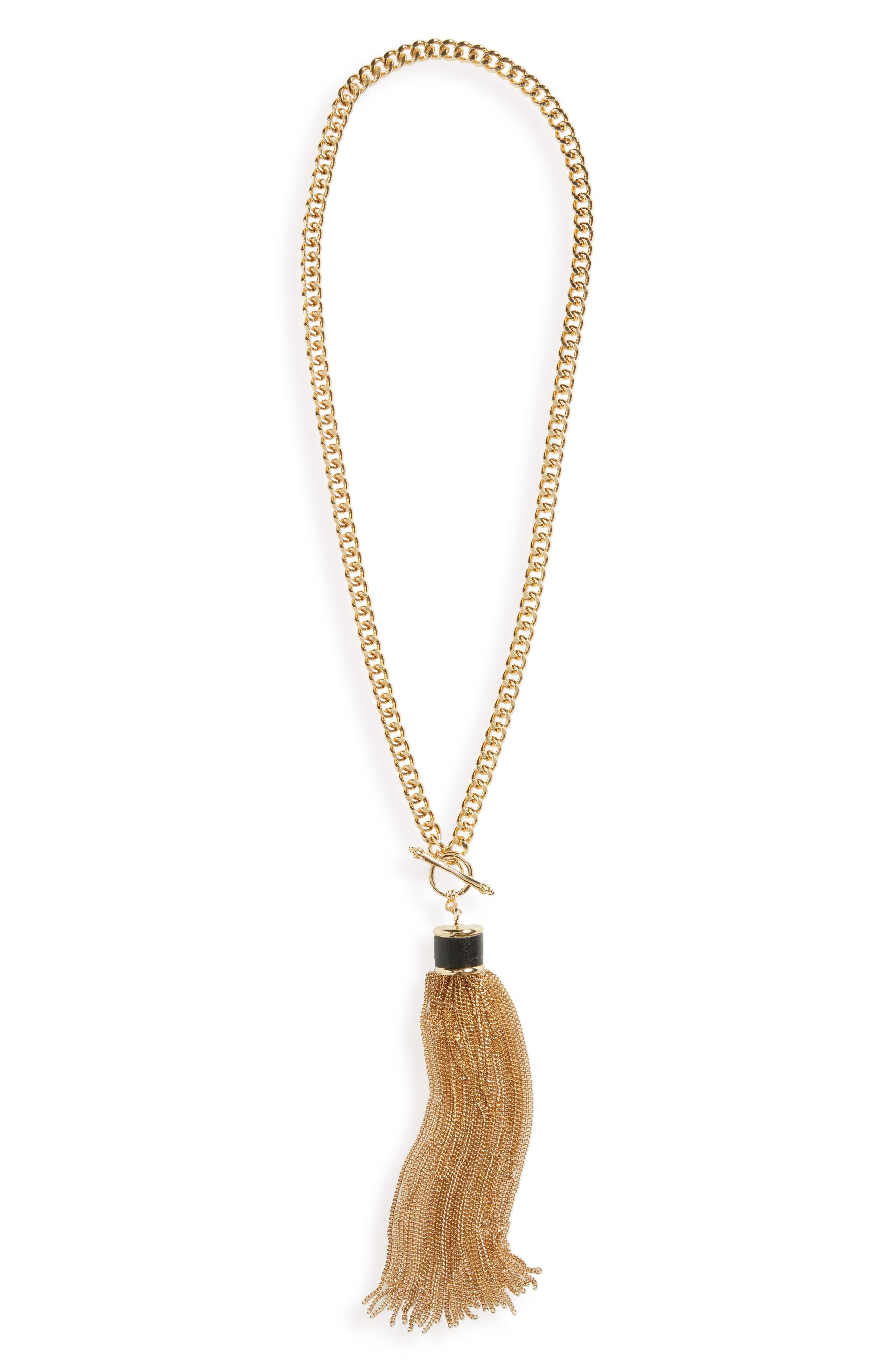 Chain Tassel Necklace,                         Main,                         color, Gold/ Black