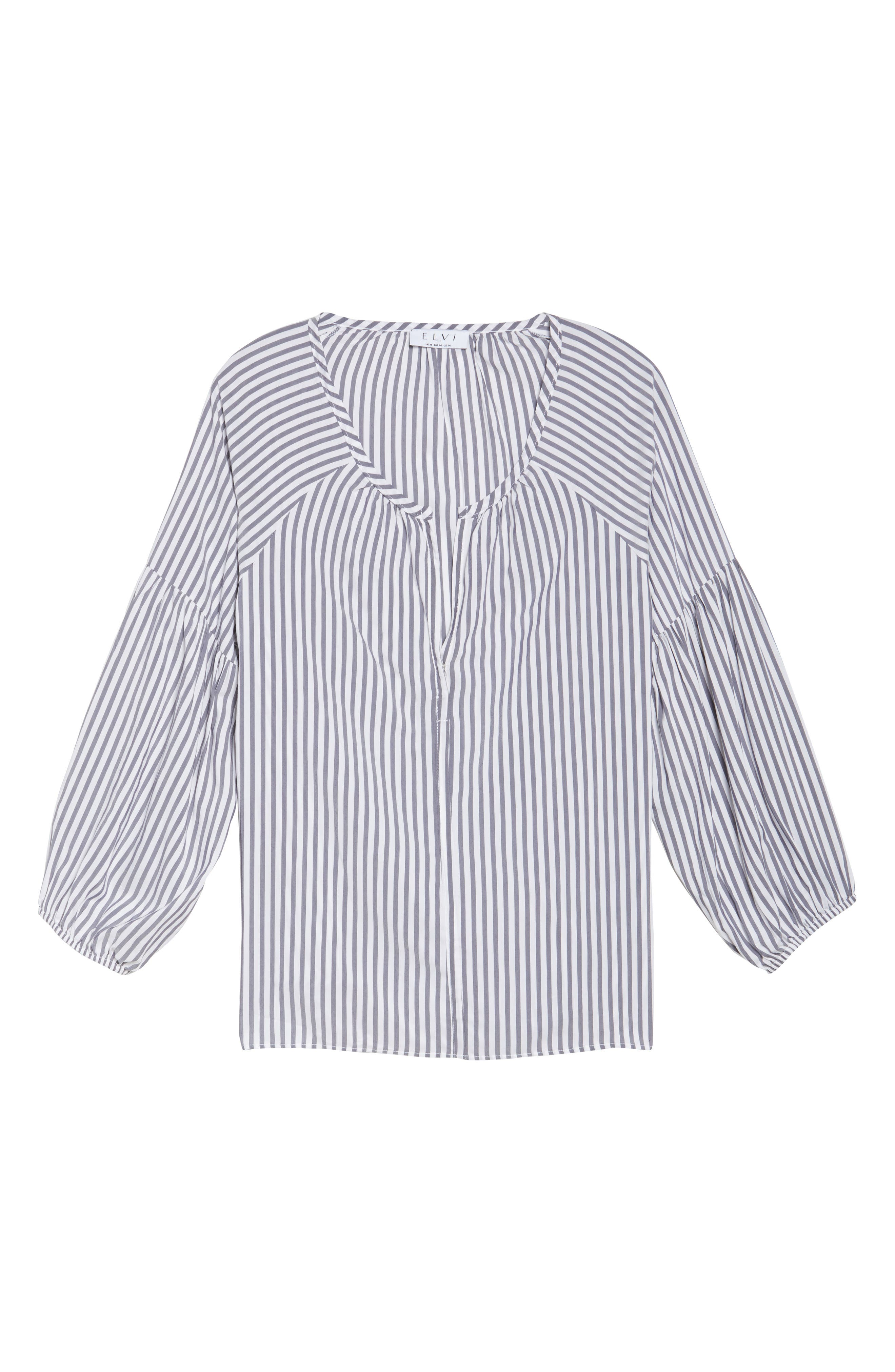 Gathered Sleeve Stripe Blouse,                             Alternate thumbnail 6, color,                             White