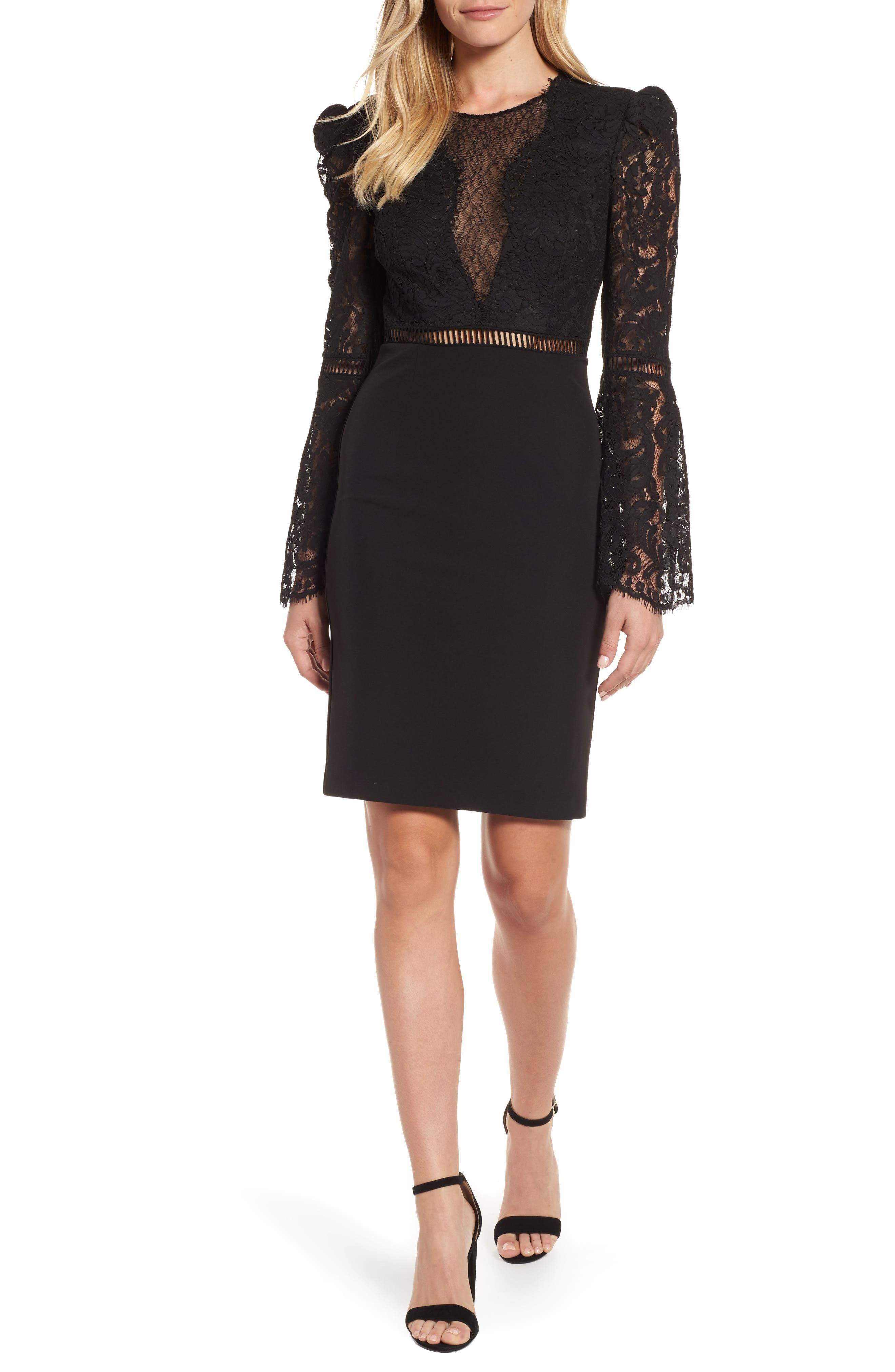 Lace Bodice Cocktail Dress,                         Main,                         color, Black