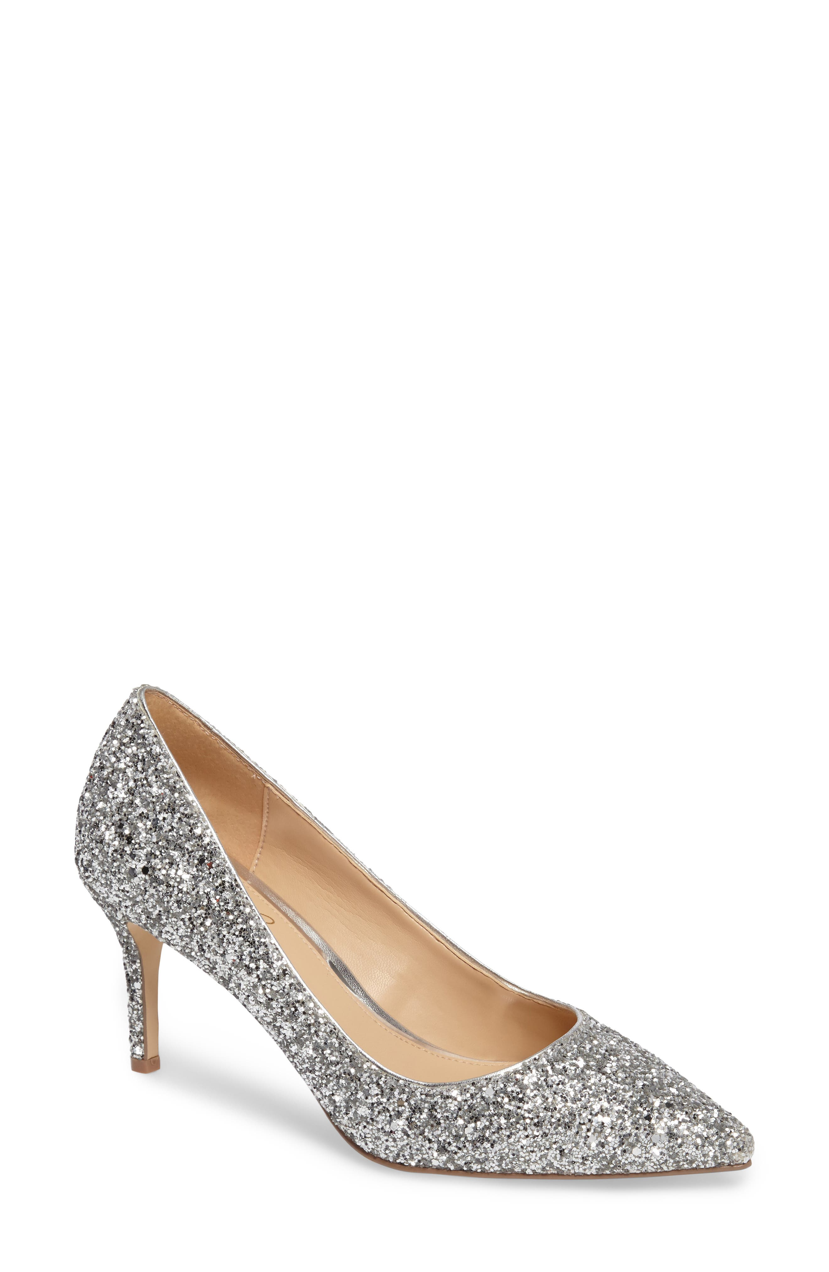 Lyla Glitter Pointy Toe Pump,                             Main thumbnail 1, color,                             Silver