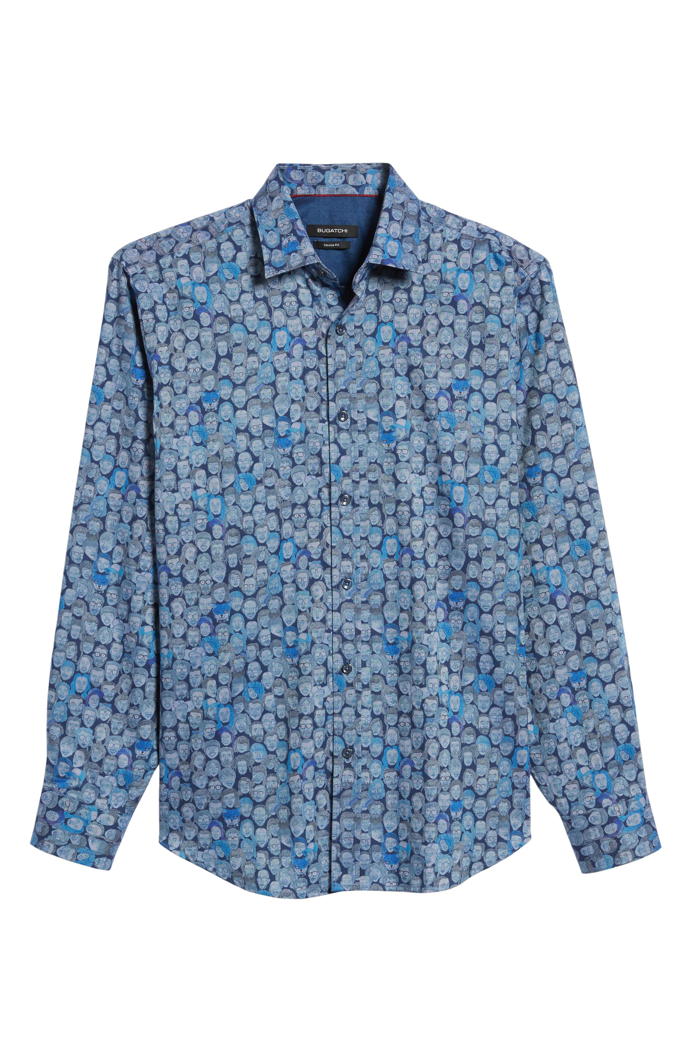 Classic Fit Face Print Sport Shirt,                             Alternate thumbnail 6, color,                             Classic Blue