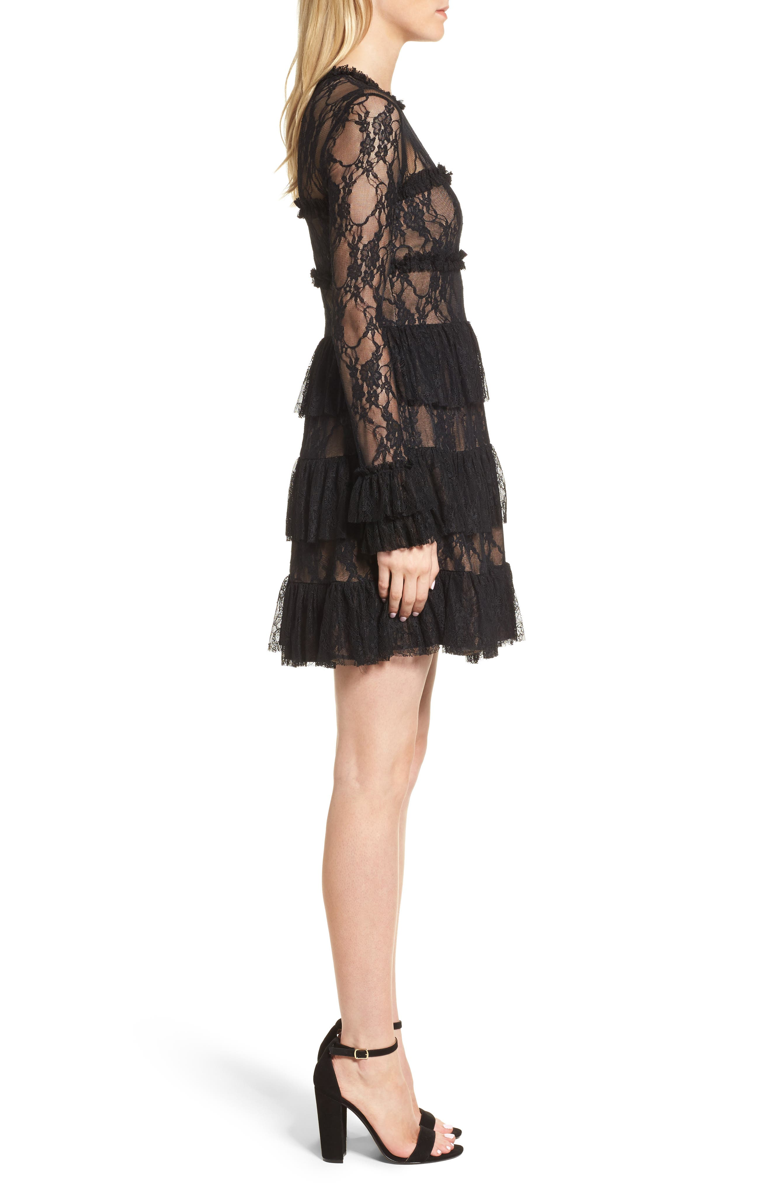 Feeding Circle A-Line Lace Dress,                             Alternate thumbnail 3, color,                             Midnight