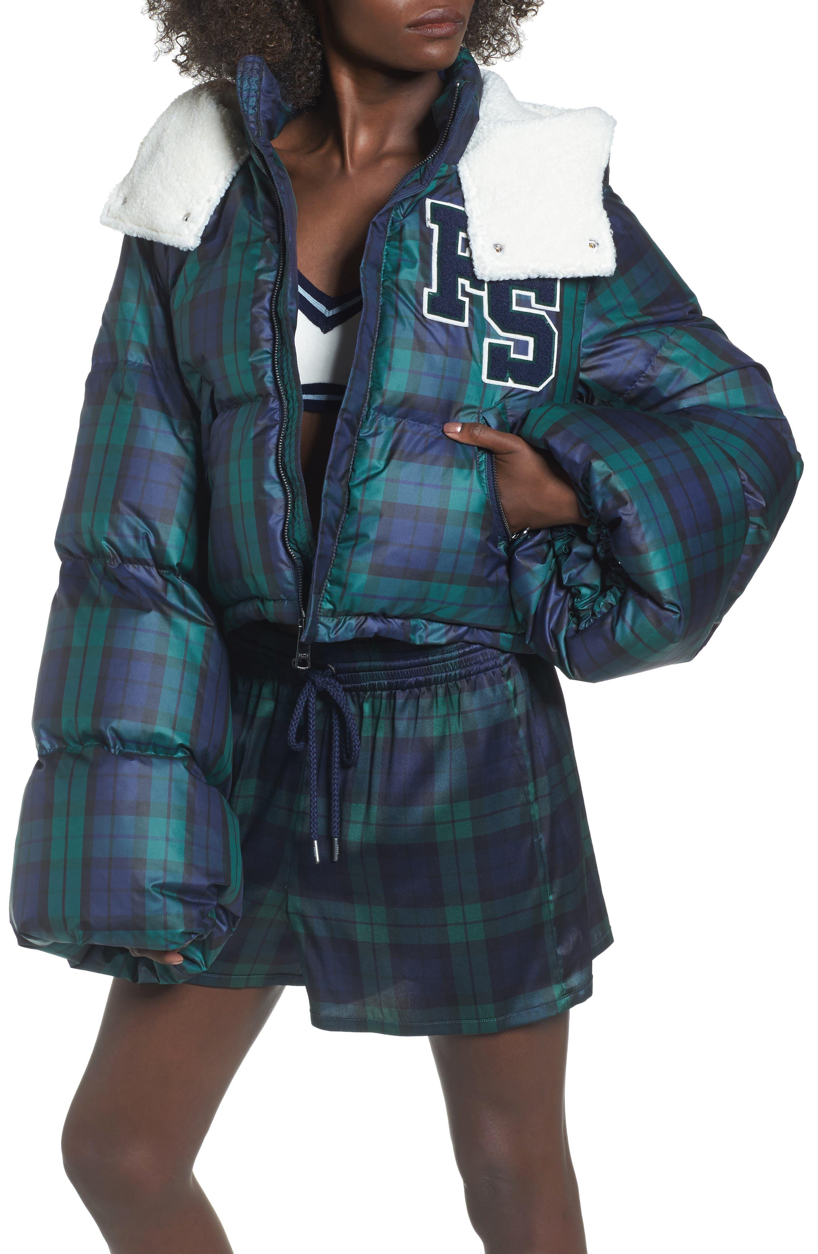 PUMA by Rihanna Crop Puffer Jacket,                         Main,                         color, Scarab Black Shearling