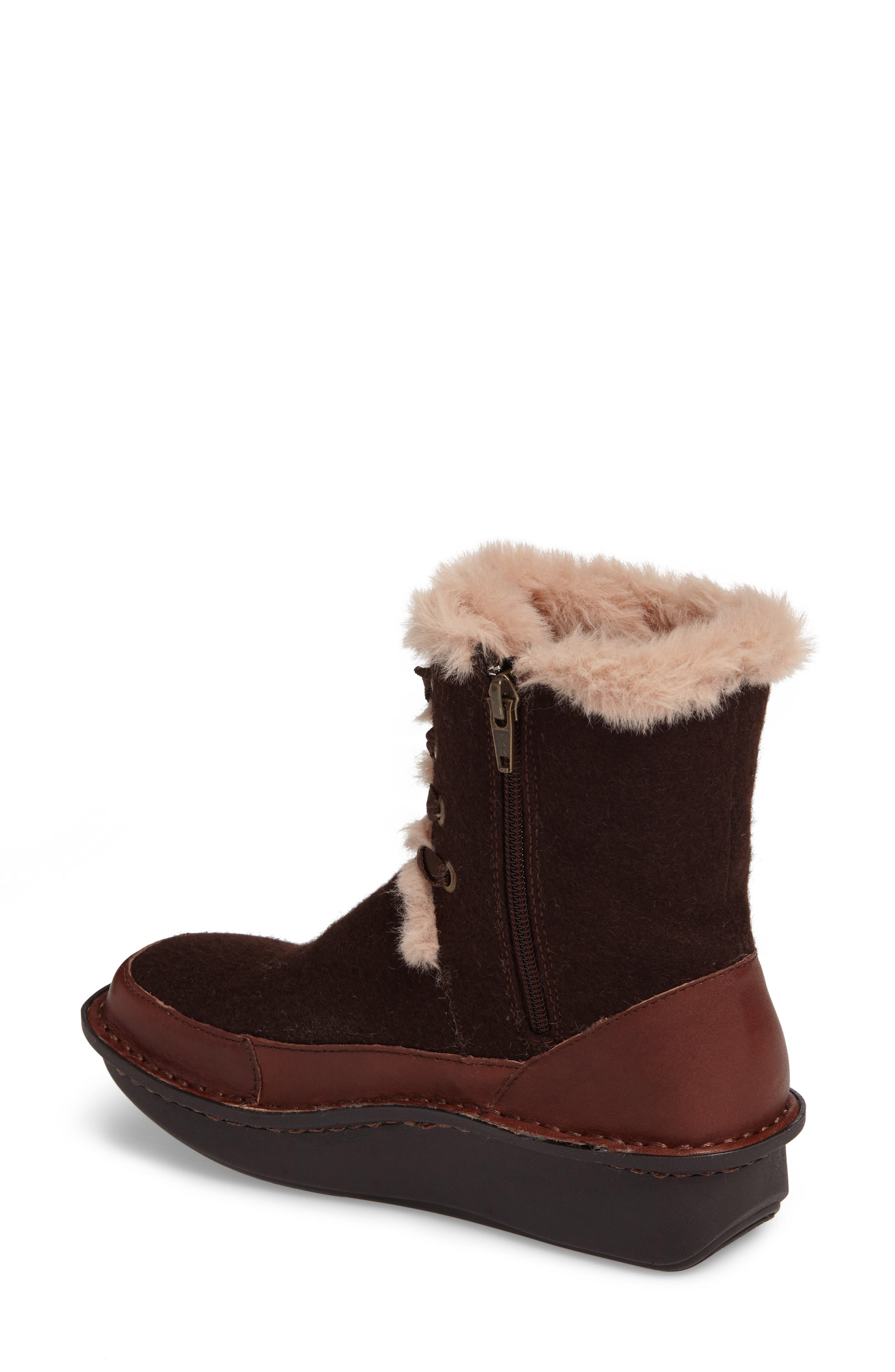 Twisp Lace-Up Boot with Faux Fur Lining,                             Alternate thumbnail 2, color,                             Hazelnut Wool Leather