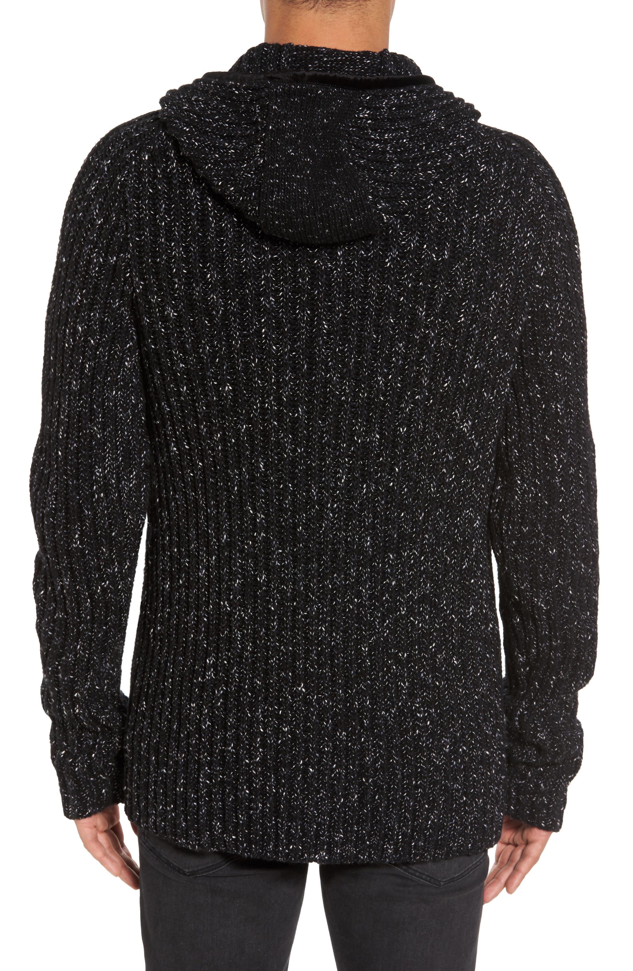 Ribbed Wool Zip Hoodie,                             Alternate thumbnail 2, color,                             Black