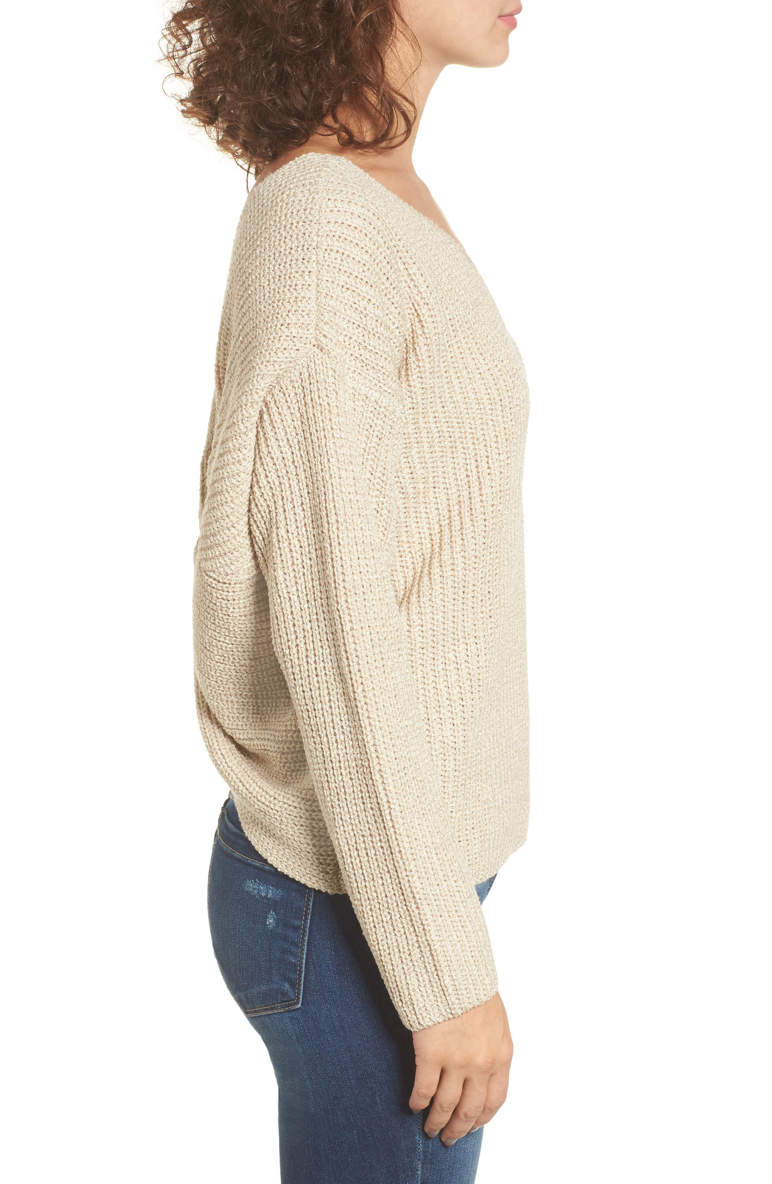 Twist Back Sweater,                             Alternate thumbnail 3, color,                             Oatmeal