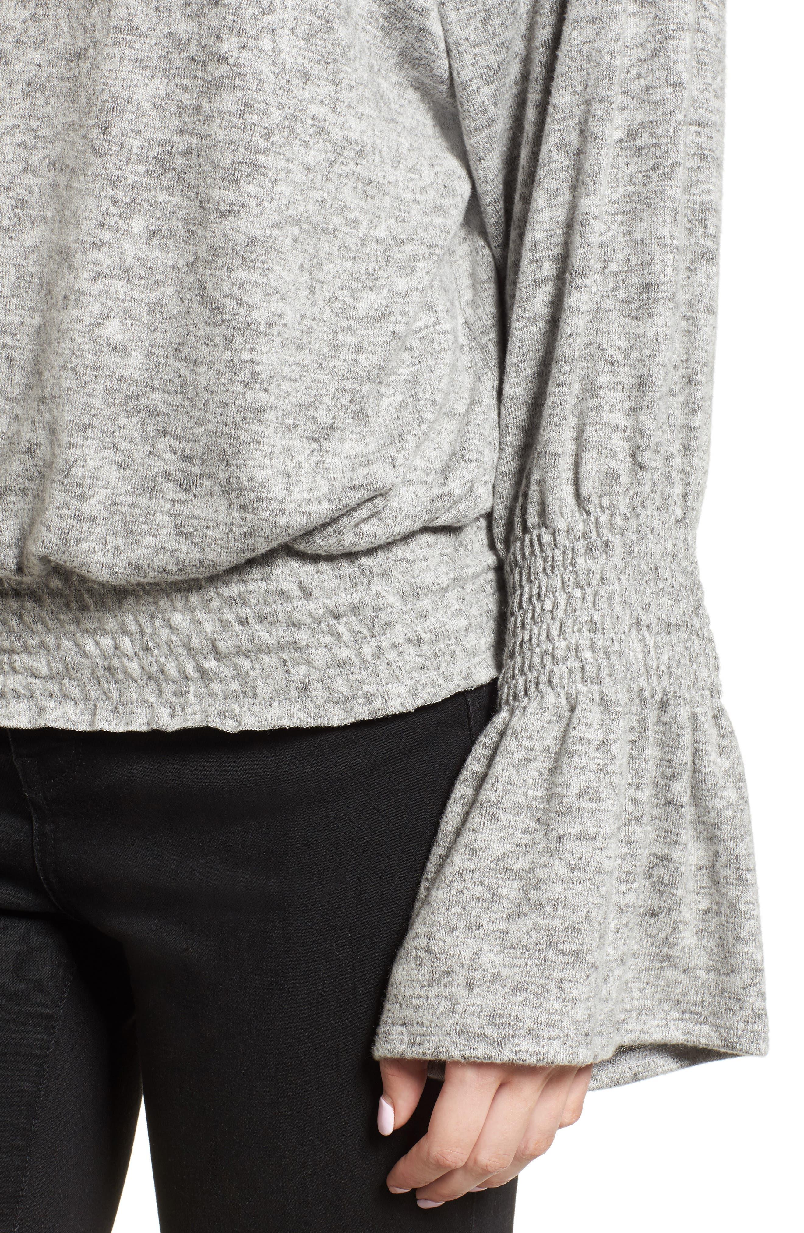 Brushed Smocked Sweatshirt,                             Alternate thumbnail 4, color,                             Grey Heather