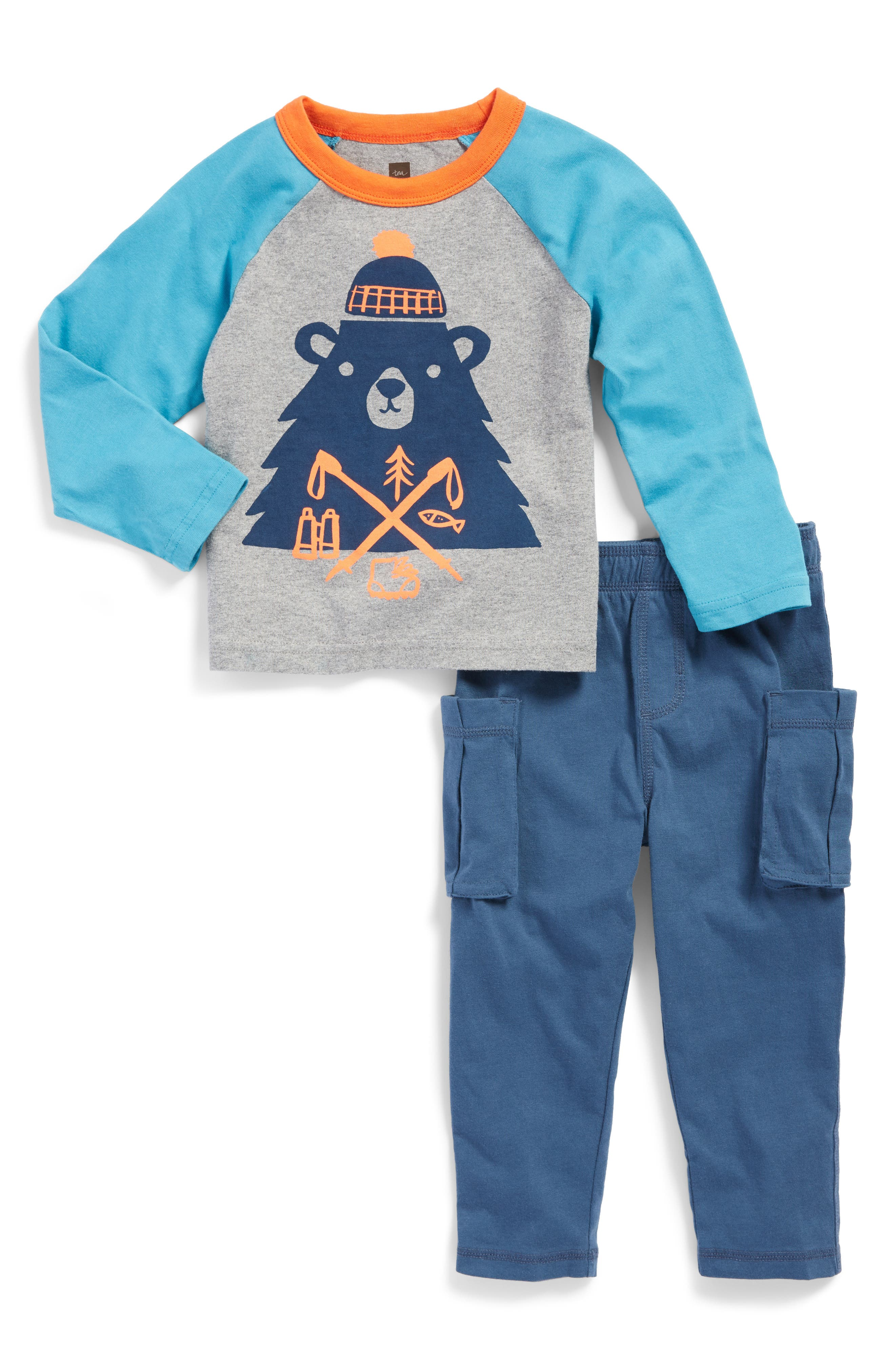 Tea Collection Munro Bear Graphic T-Shirt & Cargo Pants Set (Baby Boys)