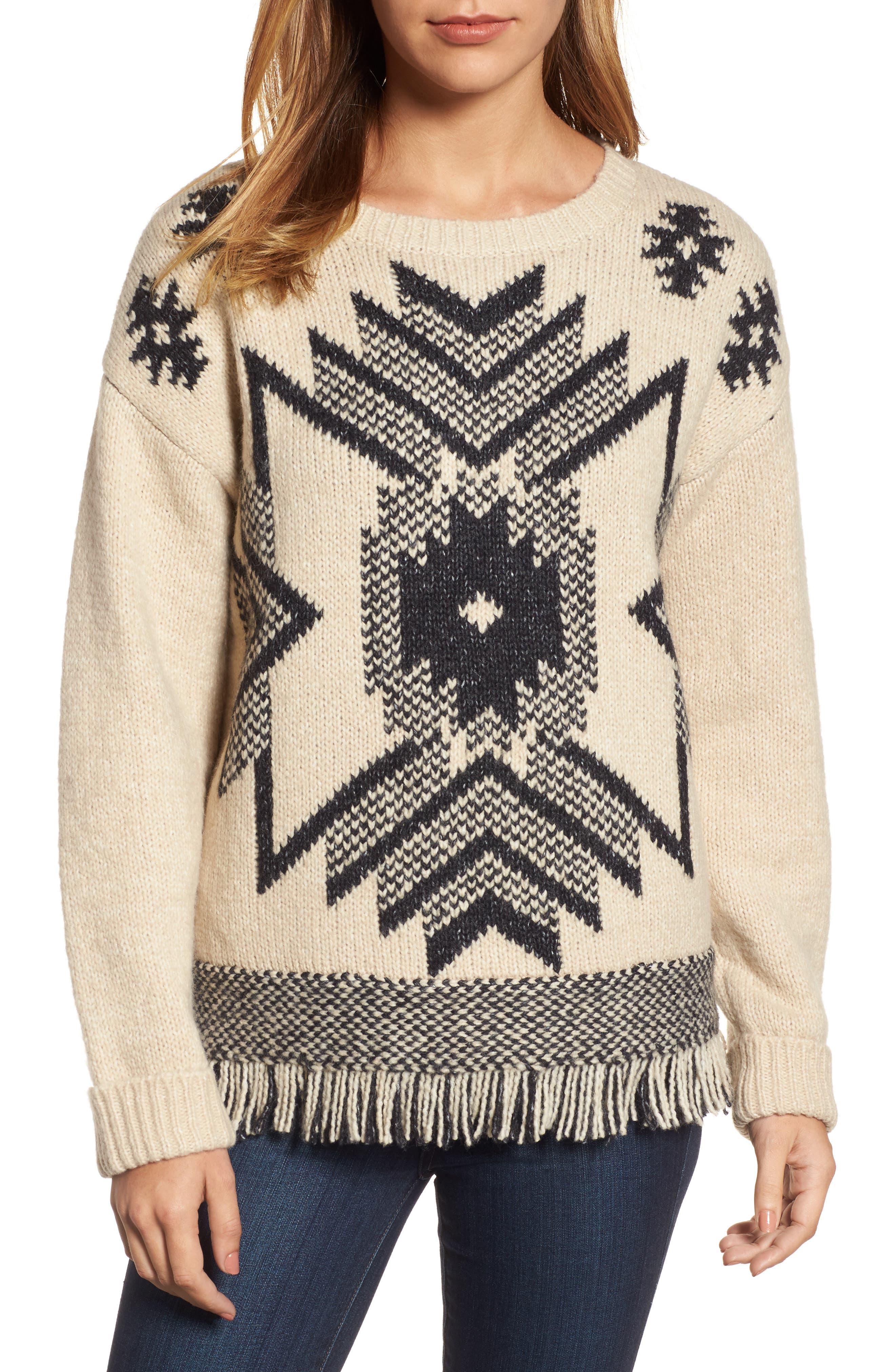 Fringe Sweater,                             Main thumbnail 1, color,                             Husked Tan